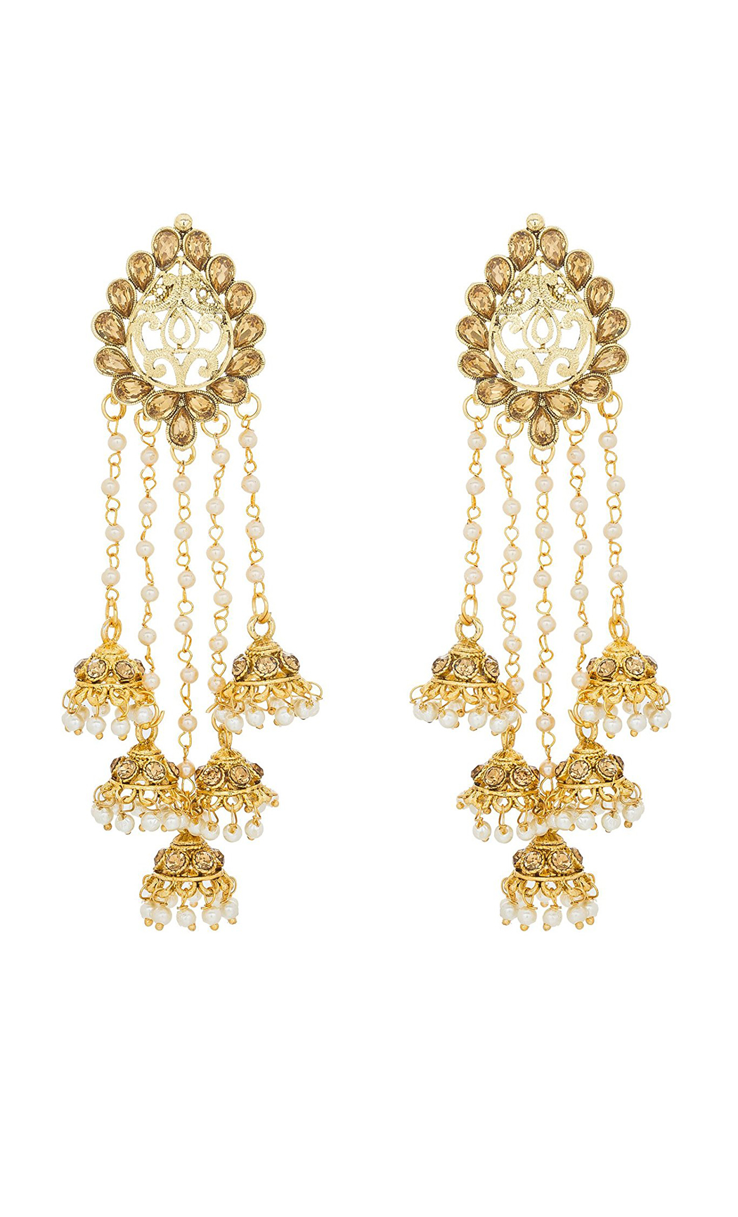 Gold Dangler Earrings with Pearls and Semi-Precious Stones - Shop Online