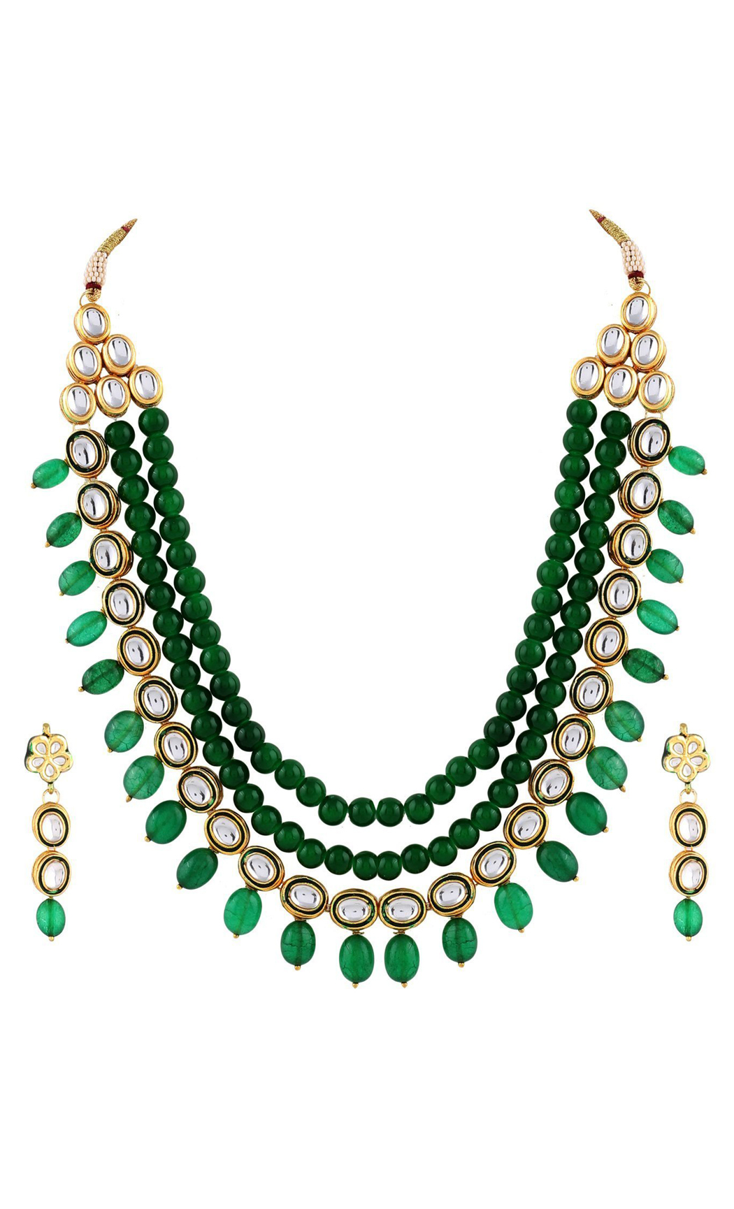 Emerald and Kunadn Necklace and Earring Set - Buy Now