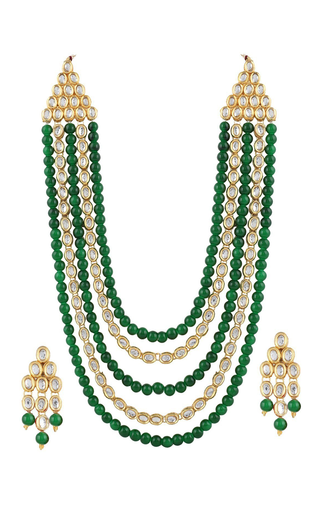 Four Line Emerald and Kunadn Necklace and Earring Set - Shop Online
