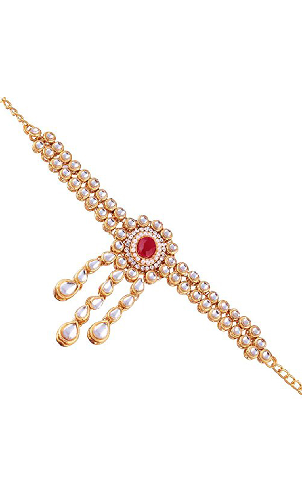 Gold Bajuband Kundan and Red Stone | Wedding Jewellery and Bridal Fashion Jewelry Collection | Buy Online