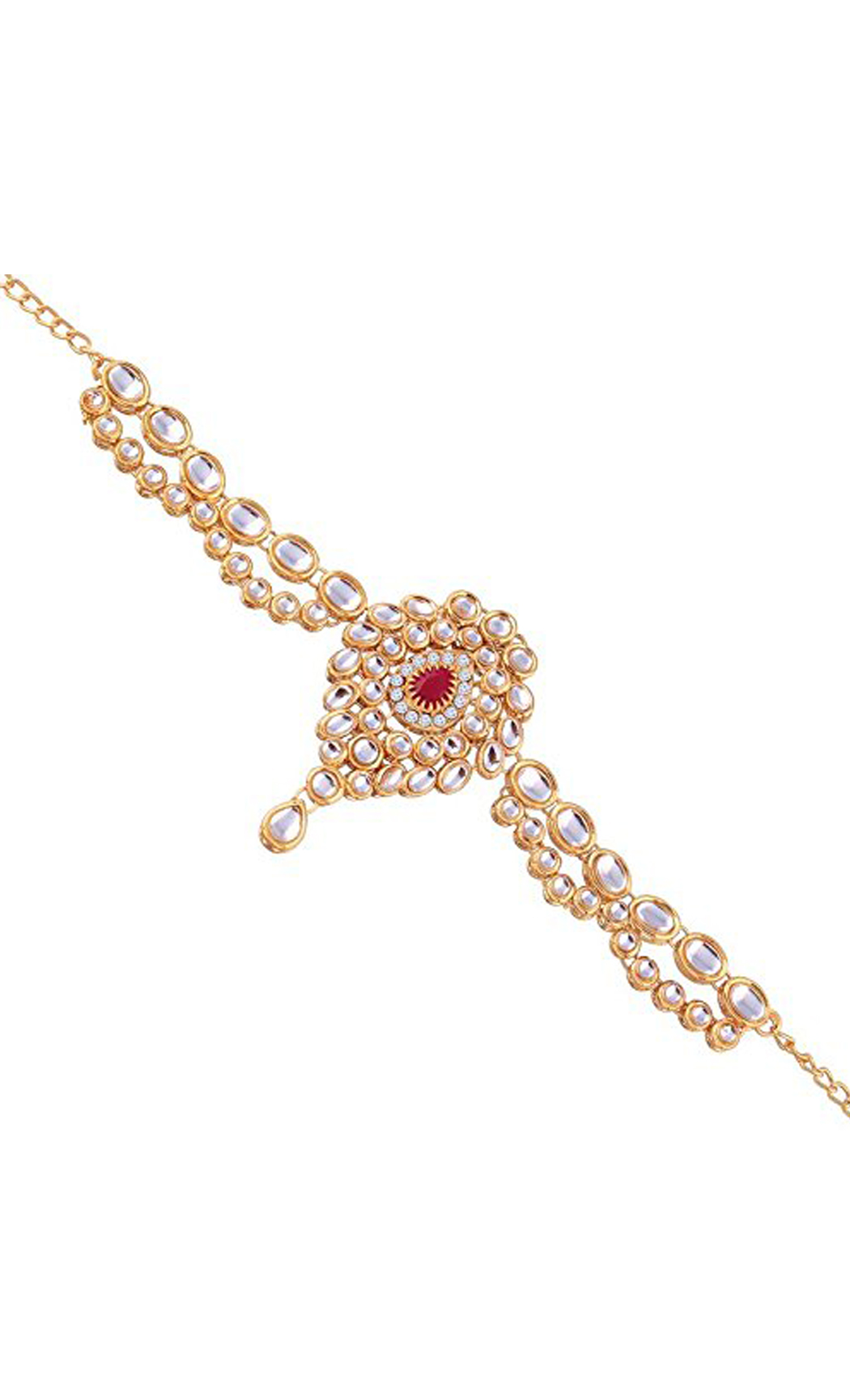Gold Bajuband Kundan and Red Stone Drop | Wedding Jewellery and Bridal Fashion Jewelry Collection | Buy Online