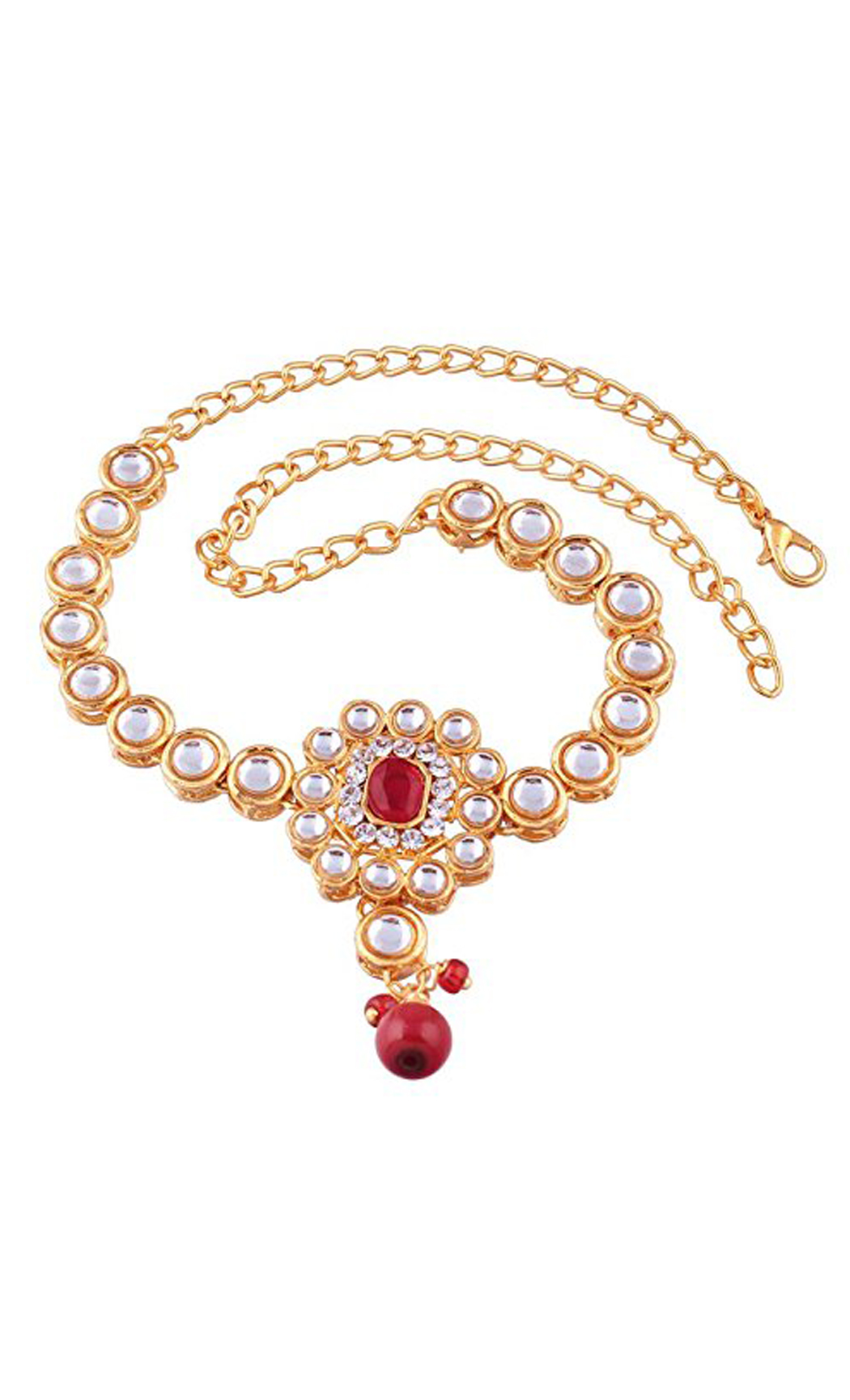 Gold Bajuband Single Line Kundan and Red Stone Drop | Wedding Jewellery and Bridal Fashion Jewelry Collection | Buy Online