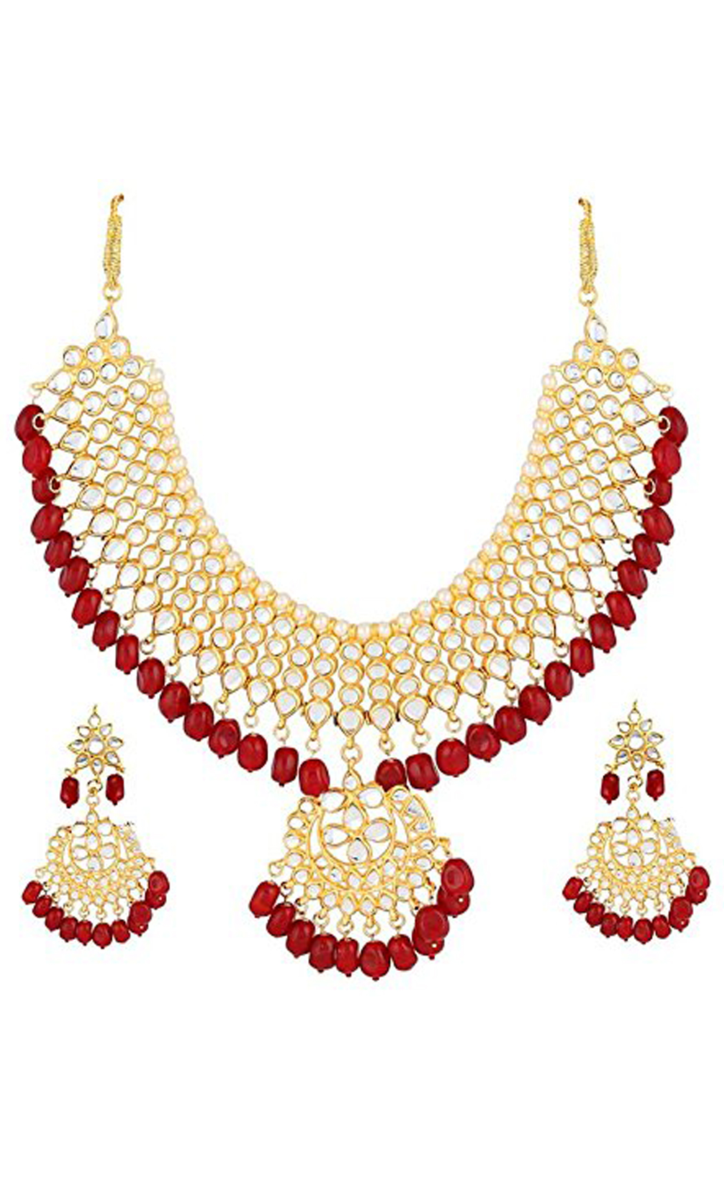 Kundan and Red Stone Neckpiece and Earrings Set | Indian Bridal Jewellery Sets with Price | Buy Online