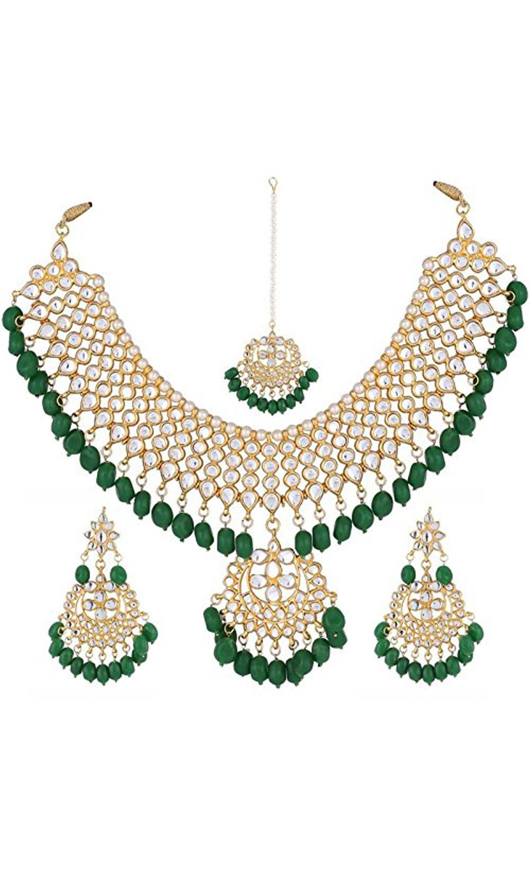 Kundan and Green Stone Neckpiece Earrings and Mangtika Set | Indian Bridal Jewellery Collection | Buy Online