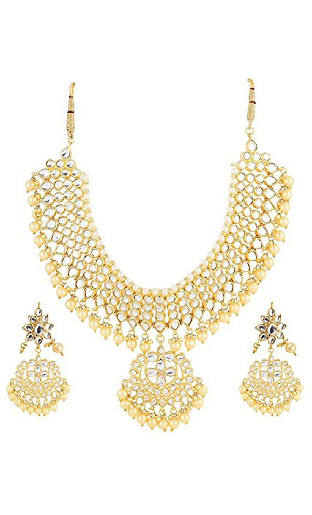 Kundan and Pearl Neckpiece and Earrings Set | Indian Bridal Jewellery Sets with Price | Buy Online