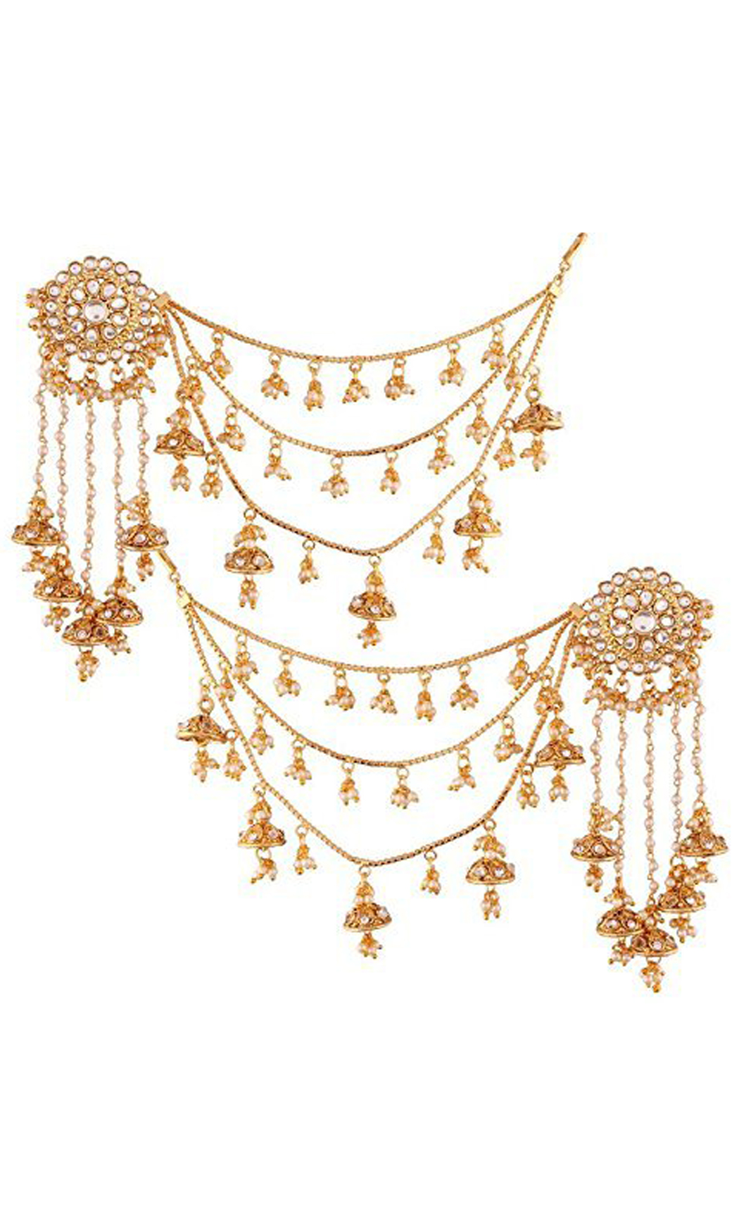 Kundan Earrings with Small Jhumkas and Earring Chains | Wedding Earrings | Buy Online