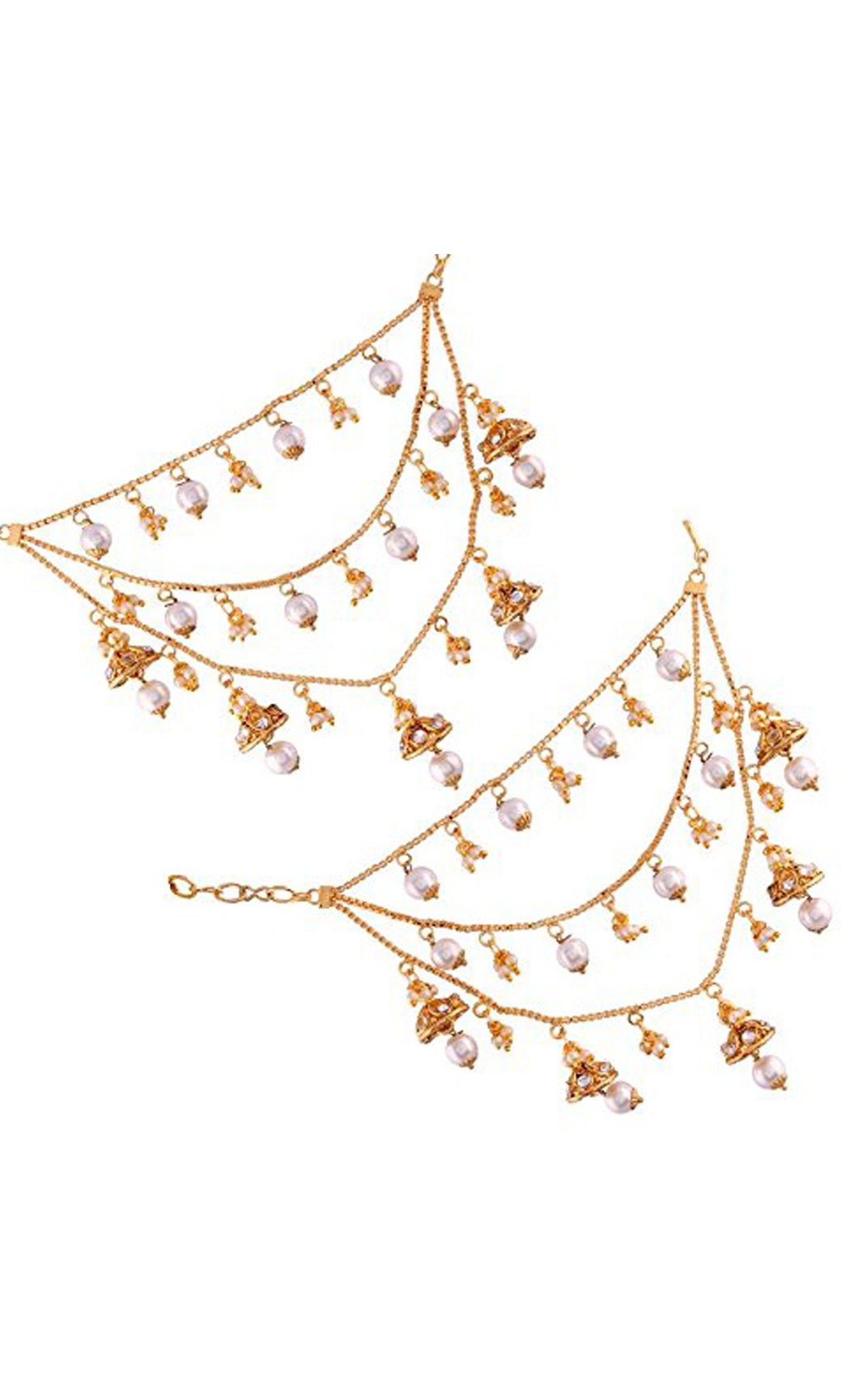 Gold Plated Triple Line Earring Chains with Pearls | Wedding Earrings | Buy Online