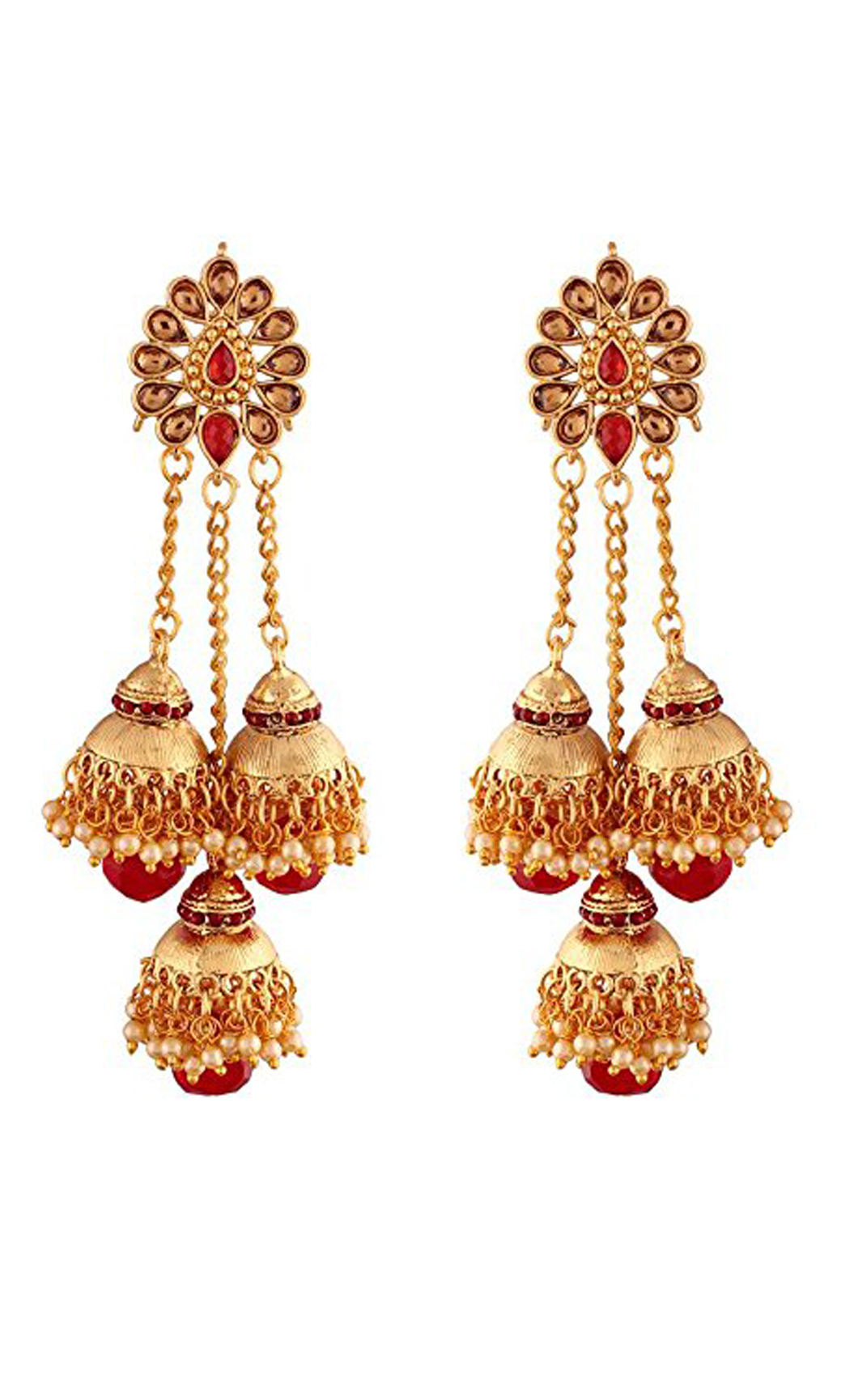 Gold Plated Long Triple Jhumka Earrings | Wedding Earrings |Buy Online