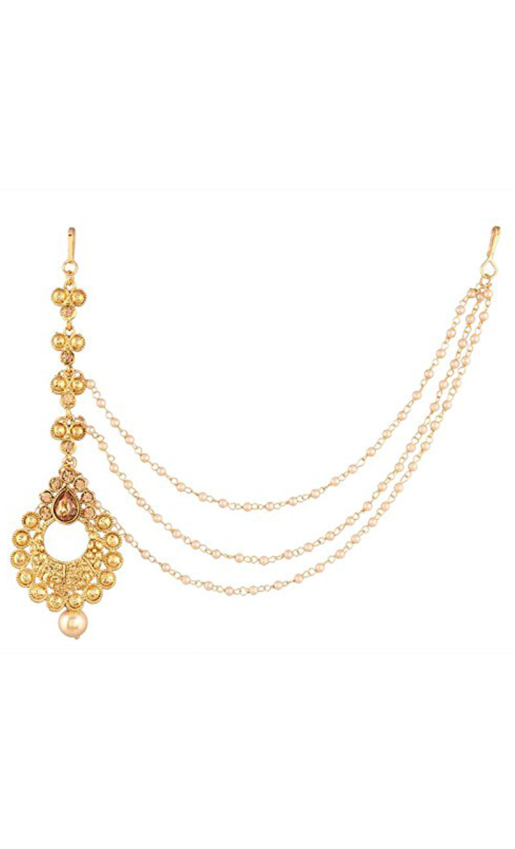 Mangtika Gold Plated with a Hair Chain | Latest Maang Tikka Designs and Maang Tikka with Chain | Buy Online