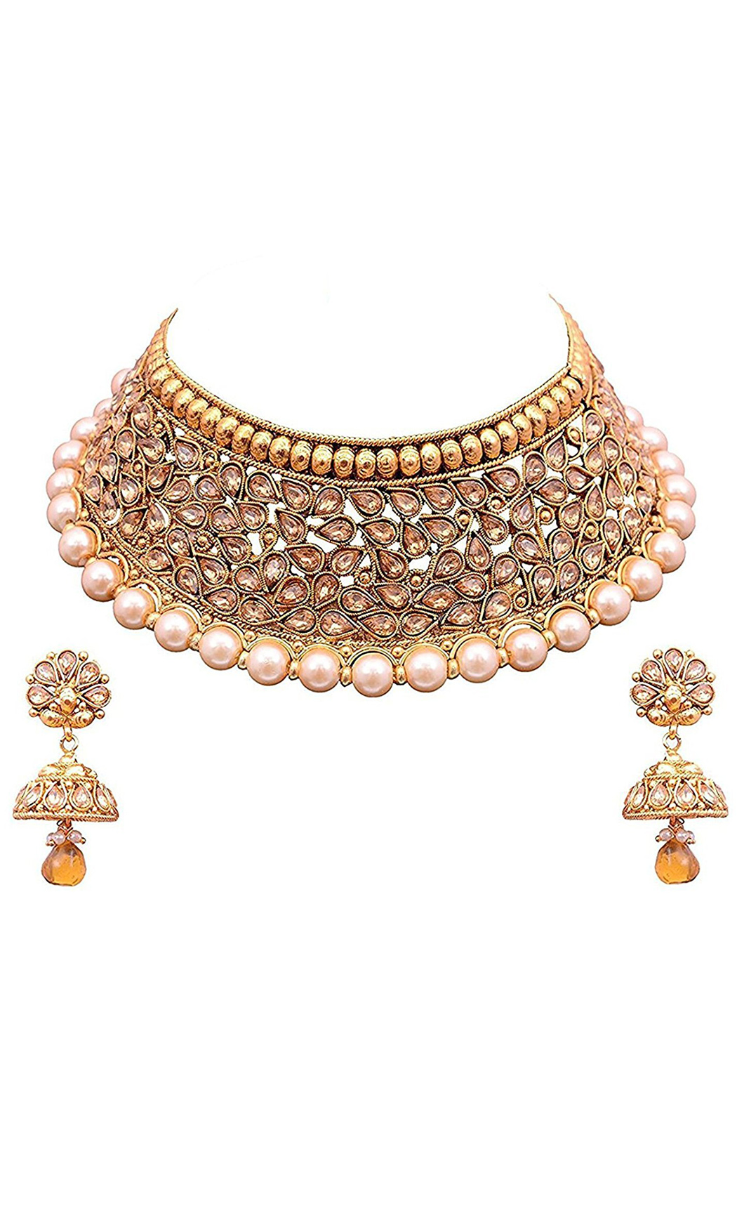 Beige Kundan and Pearl Choker Set with Earrings | Indian Bridal Jewellery Sets with Price | Buy Online