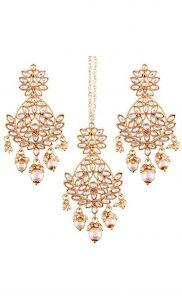 Kundan and Pearl Dangler Earrings and Maang Tikka Set | Indian Bridal Jewellery Collection