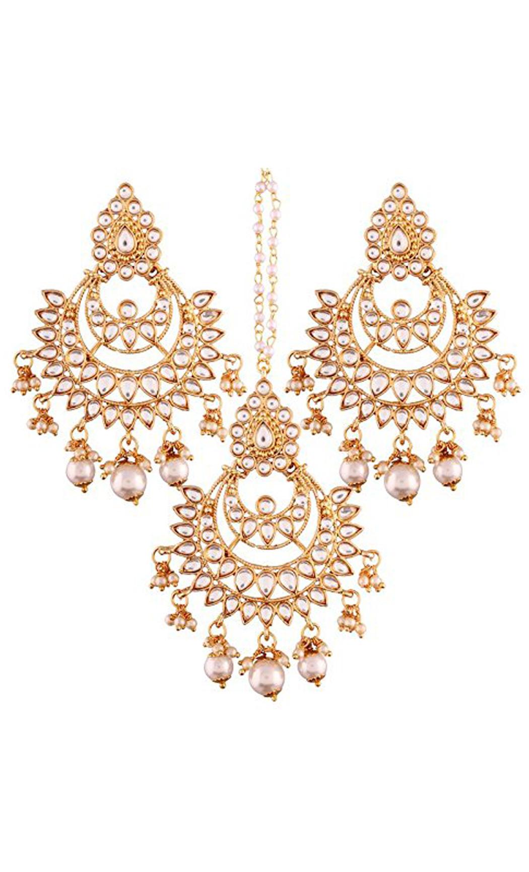 Kundan and Pearl Chaandbali Earrings and Maang Tikka Gold Plated | Indian Bridal Jewellery Collection