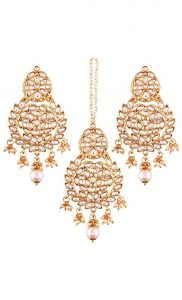 Pearl Chaandbali Wedding Earrings and Maang Tikka Gold Plated   Indian Bridal Jewellery Collection