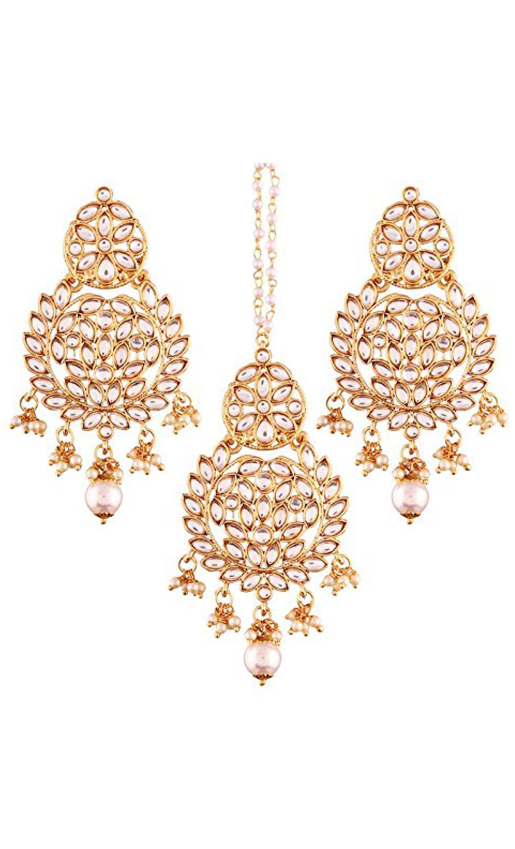 Pearl Chaandbali Wedding Earrings and Maang Tikka Gold Plated | Indian Bridal Jewellery Collection