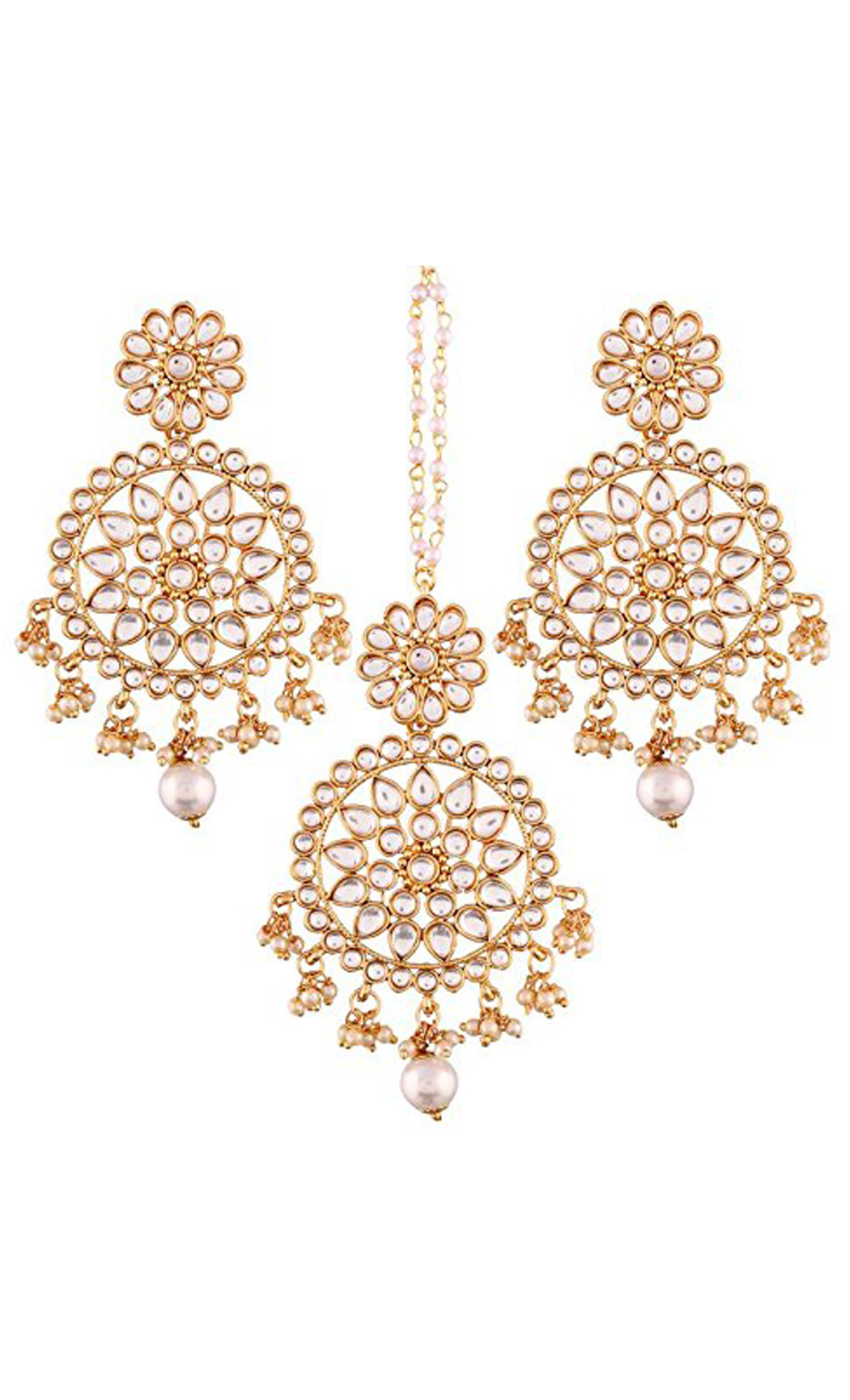 Kundan and Pearl Flower Pattern Chaandbali Earrings and Maang Tikka Gold Plated Set | Indian Bridal Jewellery Collection