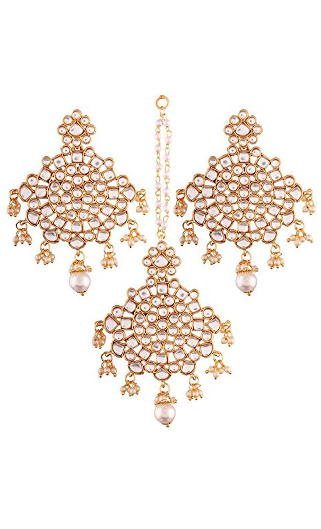 Kundan and Pearl Chaandbali Earrings and Maang Tikka Gold Plated Set | Indian Bridal Jewellery Collection