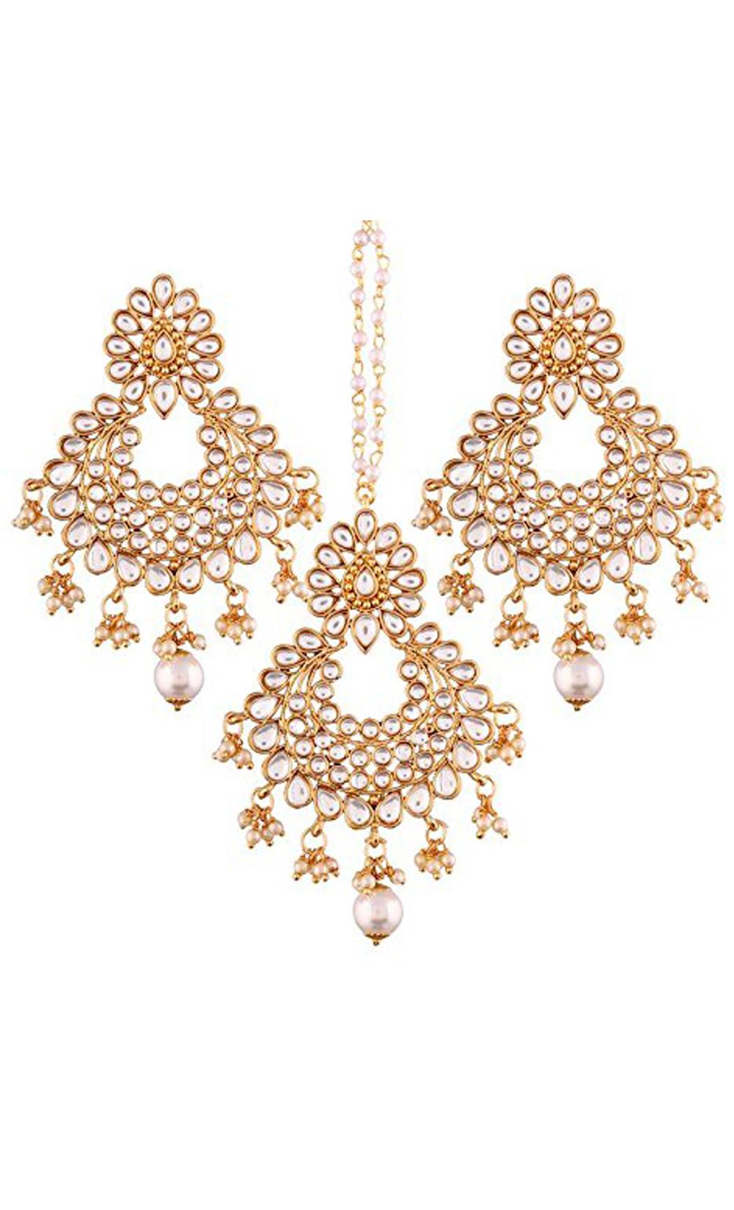 Pearl Chaandbali Earrings and Maang Tikka Gold Plated Set | Indian Bridal Jewellery Collection
