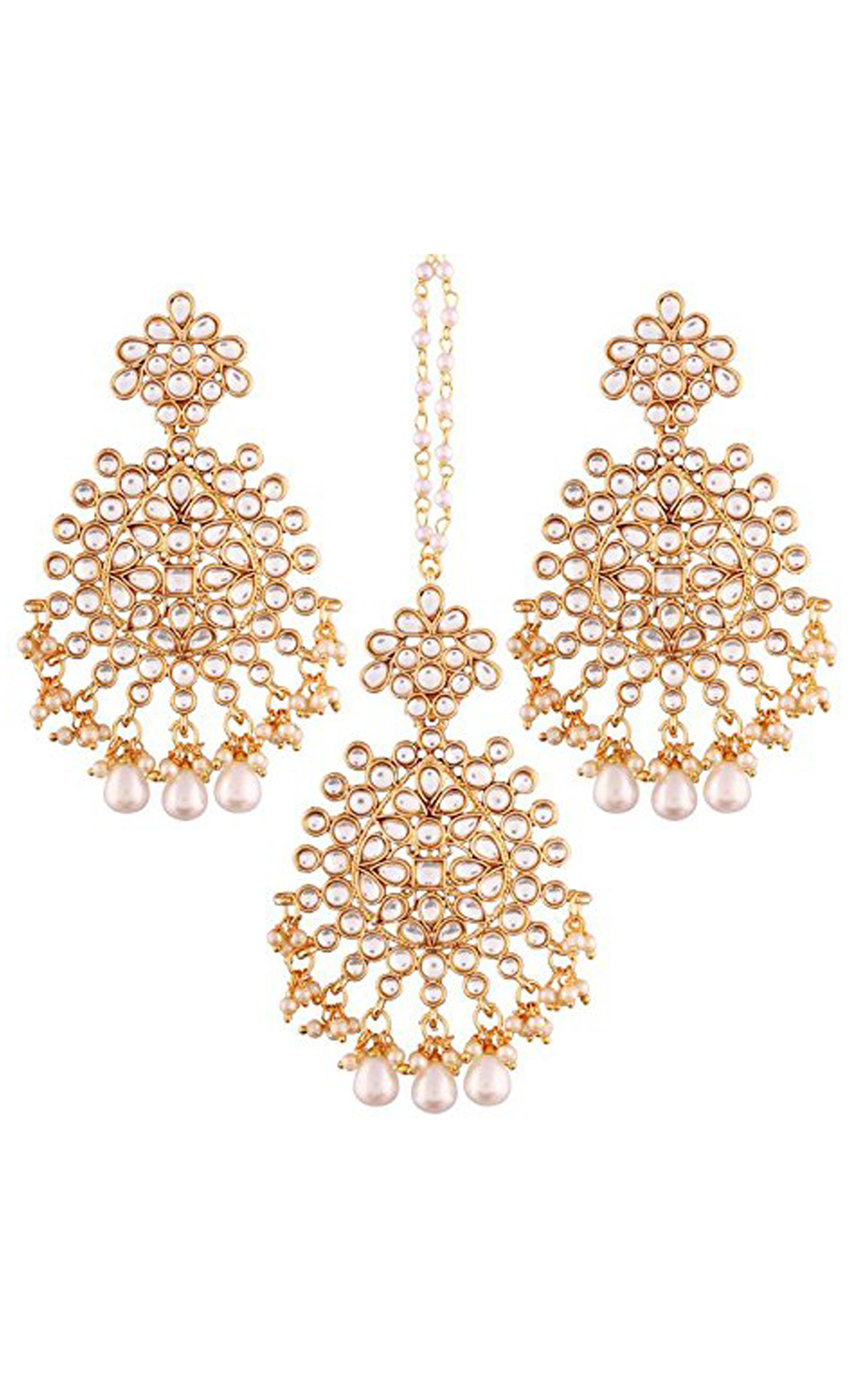 Pearl and Kundan Earrings and Maang Tikka Set | Indian Bridal Jewellery Sets With Price