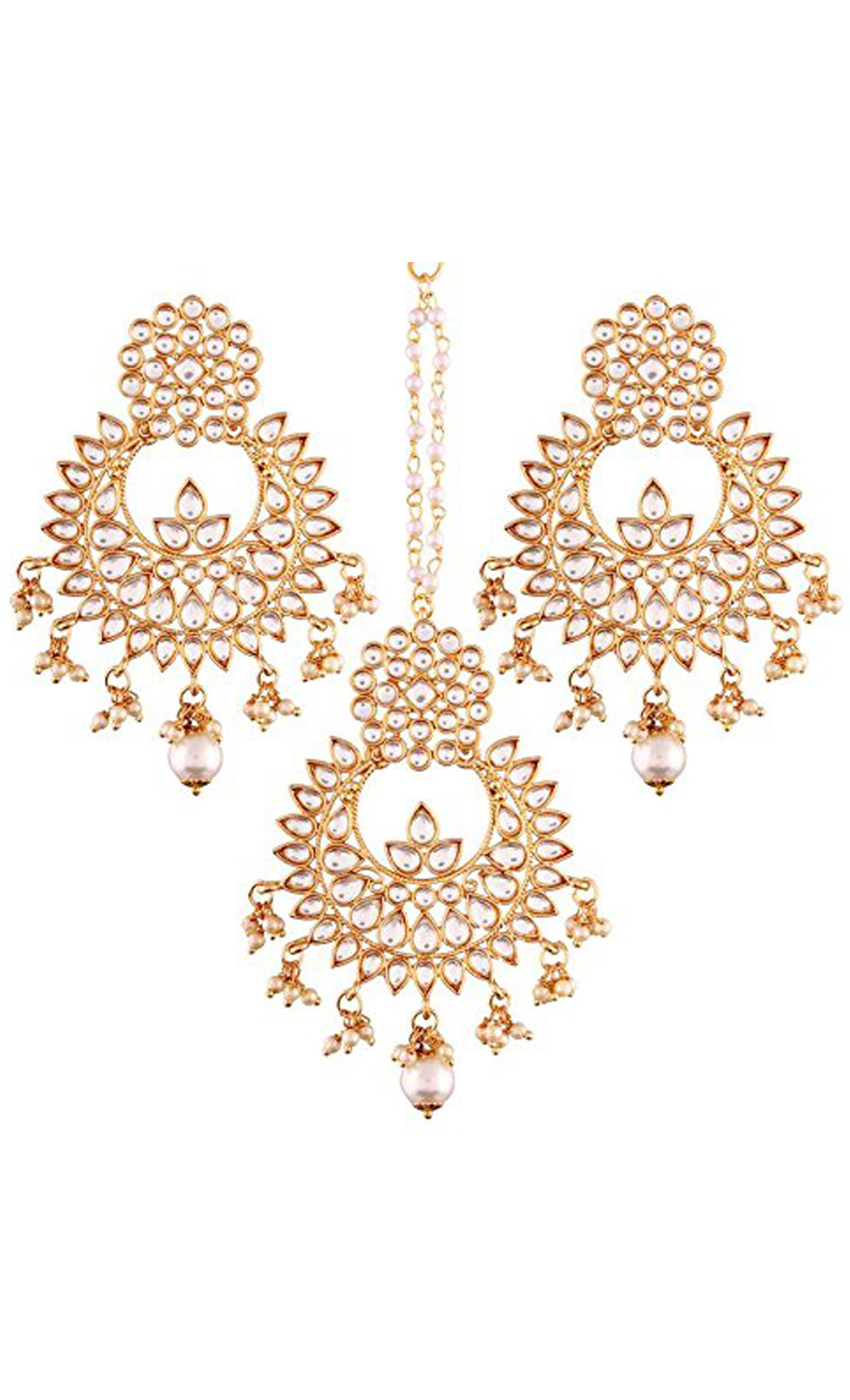 Kundan Chaandbali Earrings and Gold Maang Tikka Set | Indian Bridal Jewellery Sets With Price