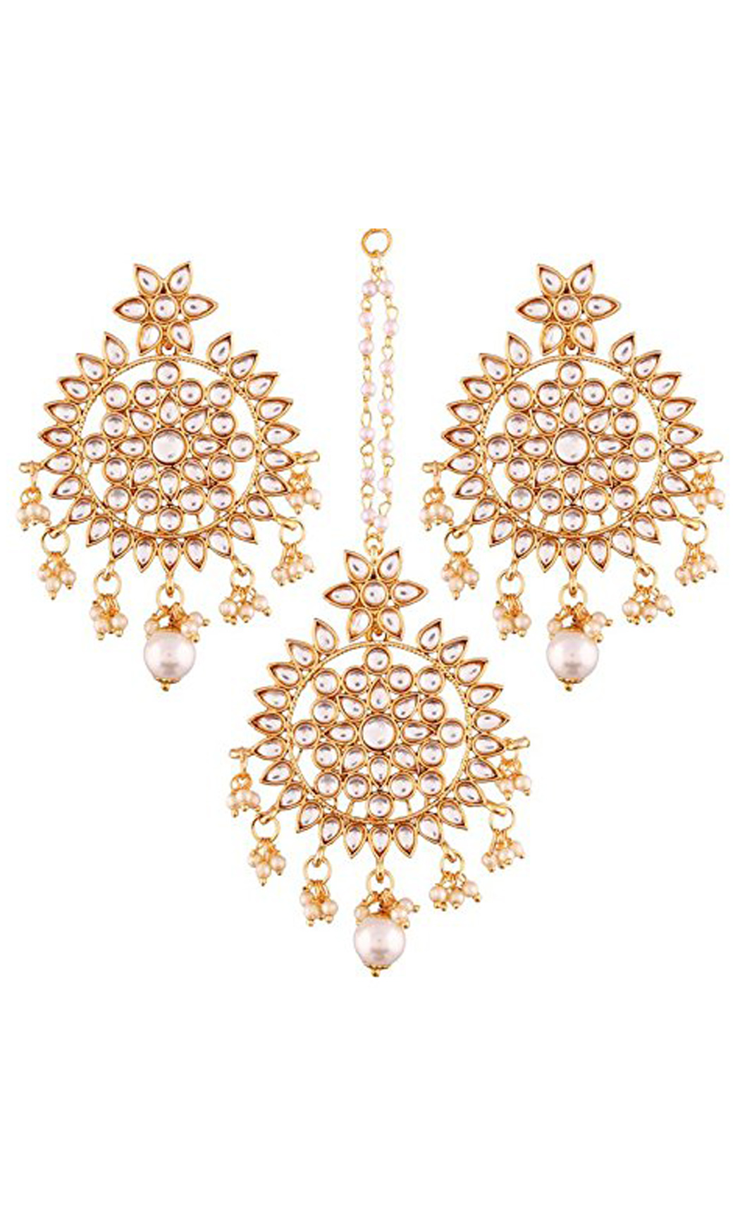 Flower Kundan Chaandbali Earrings and Maang Tikka Gold Plated| Indian Bridal Jewellery Sets With Price