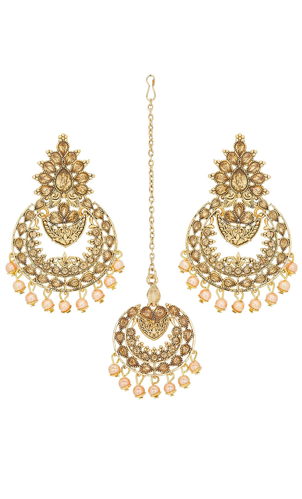 Gold Plated Yellow Stone Chaandbali Earrings and Maang Tikka Set | Indian Bridal Jewellery Sets With Price