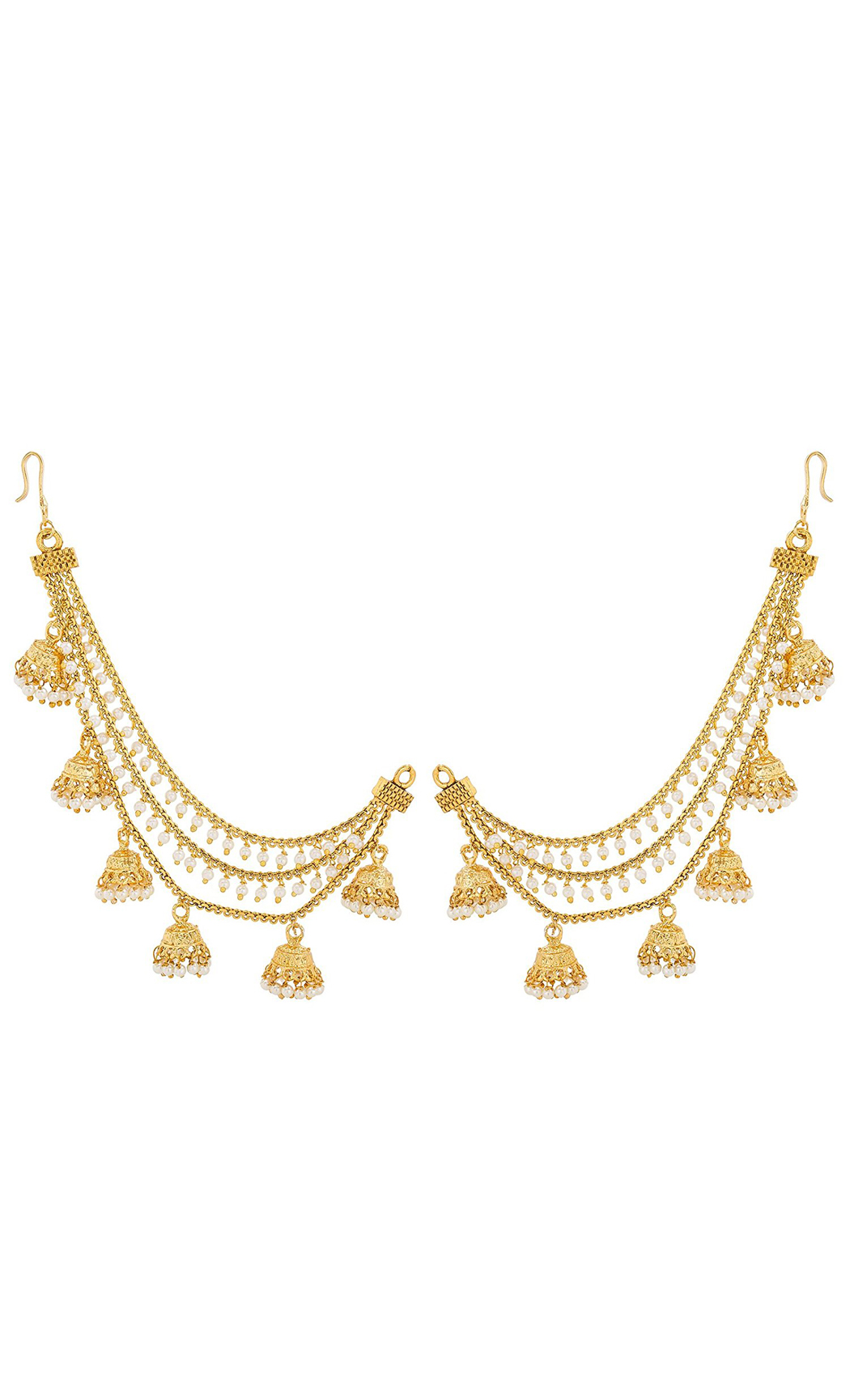 Gold Plated Earring Chains with Small Jhumkas and Pearls | Wedding Earrings | Buy Online