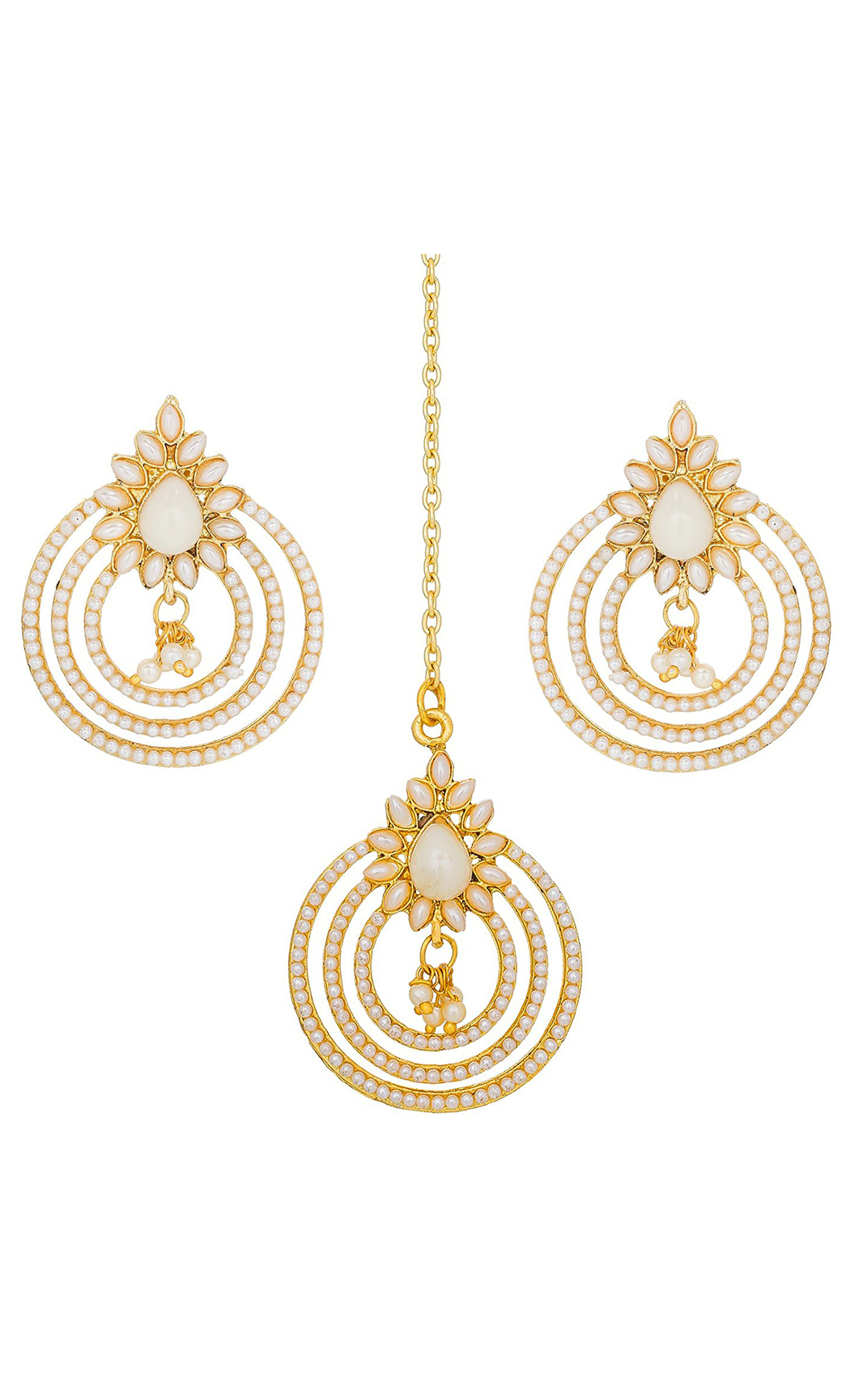 Pearl Earrings and Maang Tikka Gold Plated Set | Indian Bridal Jewellery Sets With Price