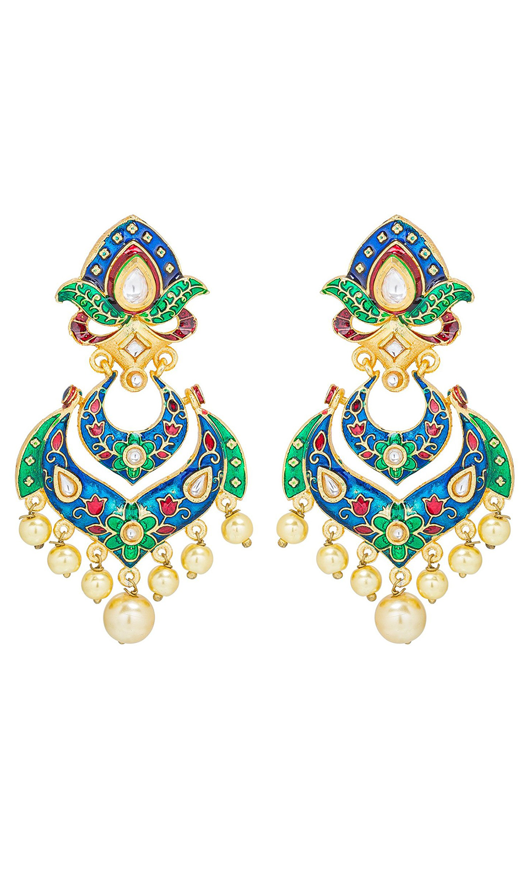 Blue and Green Meena Earrings | Wedding Earrings | Buy Online