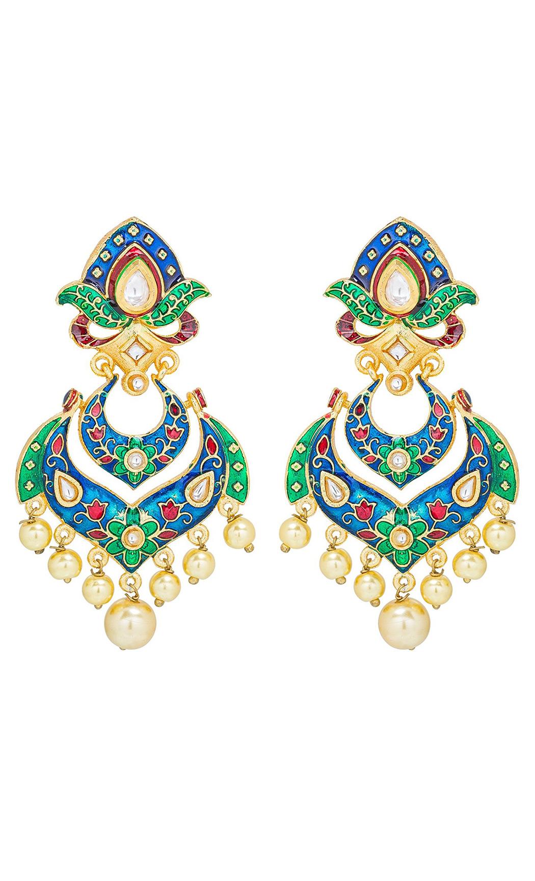 Blue and Green Meena Earrings | Wedding Earrings | Buy Online