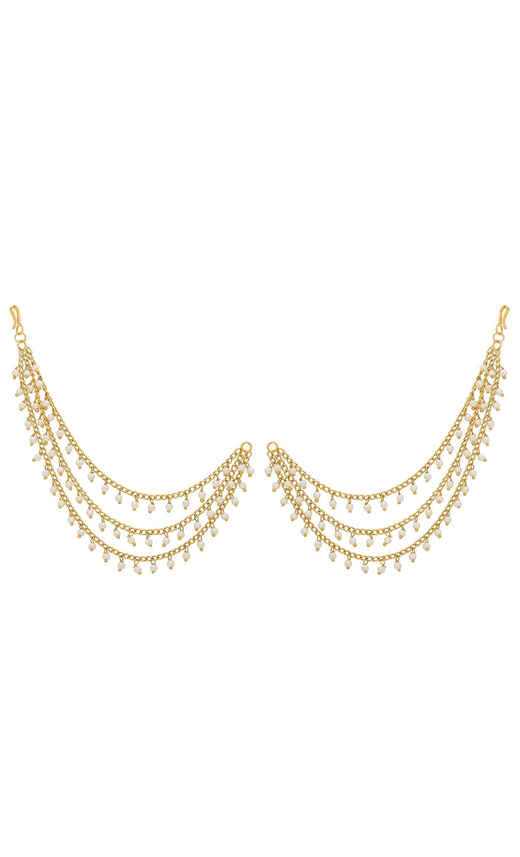 Gold Plated Pearl Earring Chains | Wedding Earrings | Buy Online
