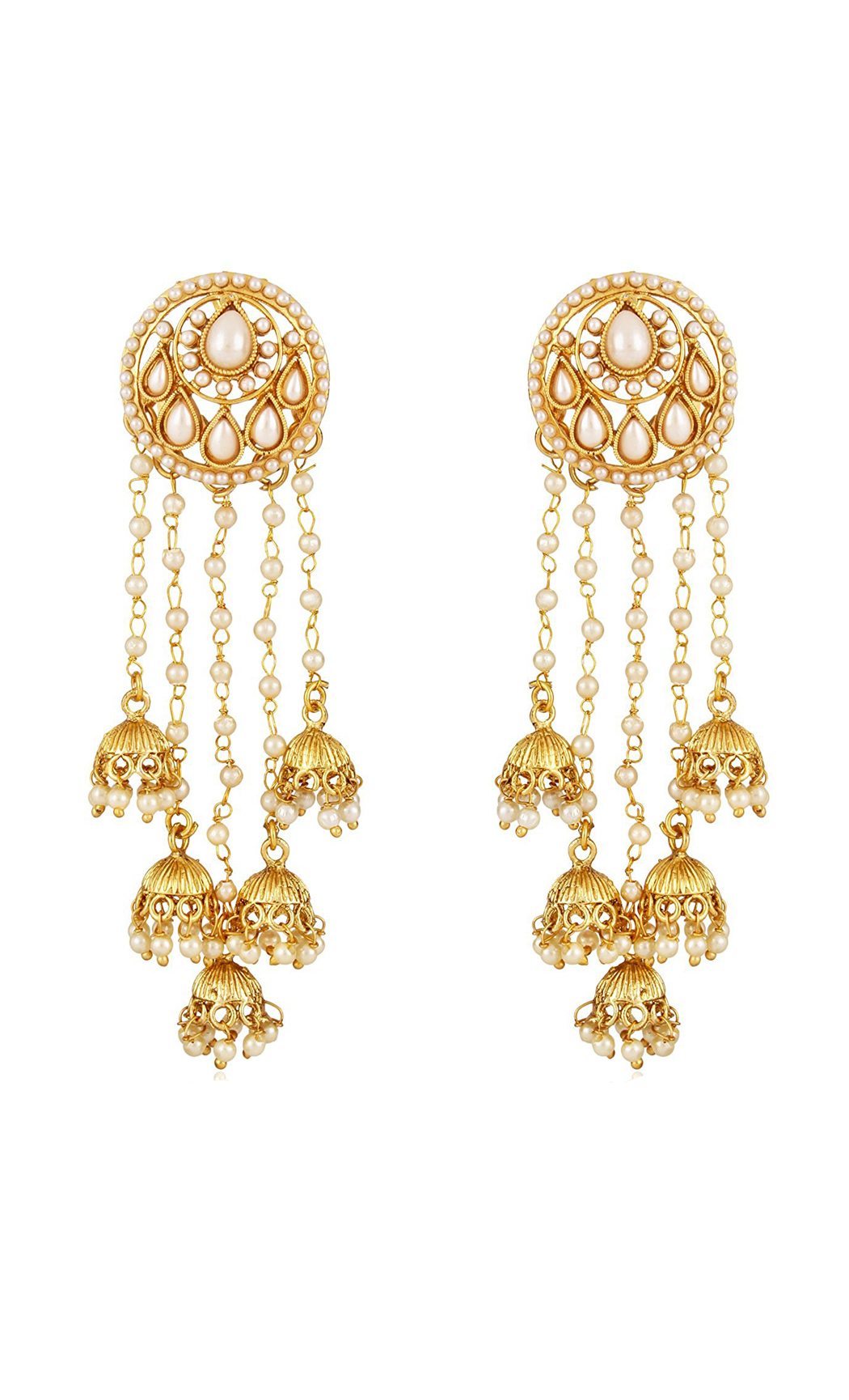 Gold Dangler Earrings with Small Jhumkas and Pearls | Wedding Earrings | Buy Online