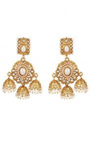 Gold Kundan Jhumkas with Pearls | Wedding Earrings | Buy Online
