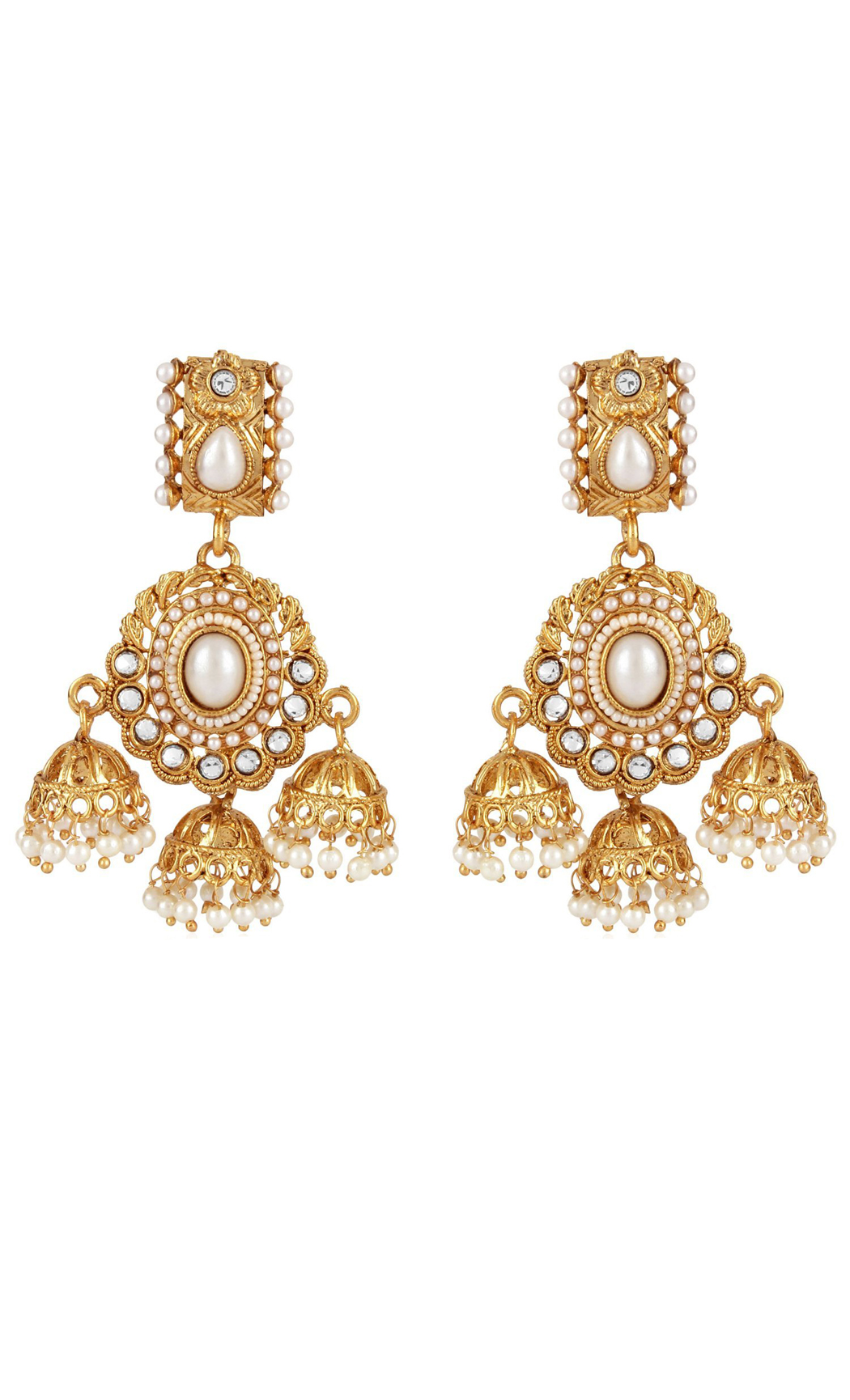Gold Kundan Jhumkas with Pearls | Wedding Earrings | Buy Online