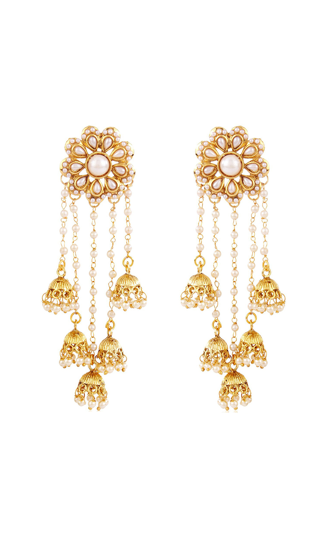 Gold Floral Dangler Earrings with Small Jhumkas and Pearls | Wedding Earrings| Buy Online