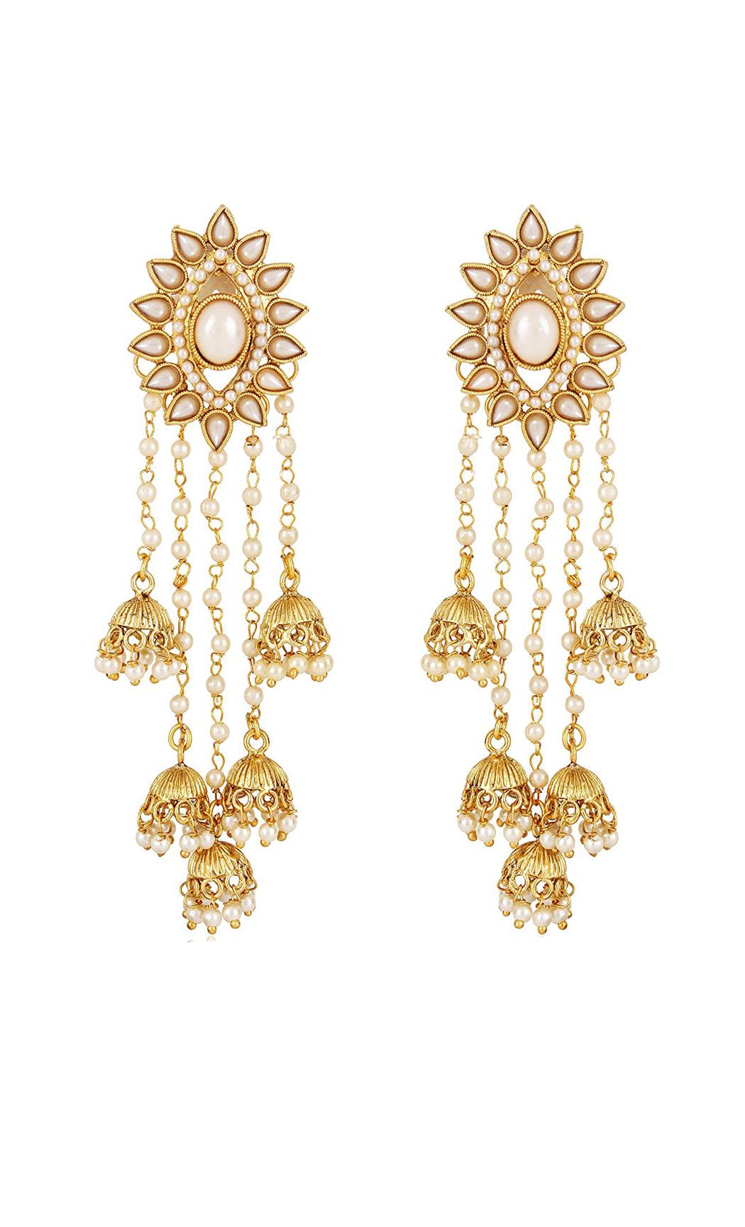 Gold and Pearl Dangler Earrings with Jhumkas | Wedding Earrings | Buy Online