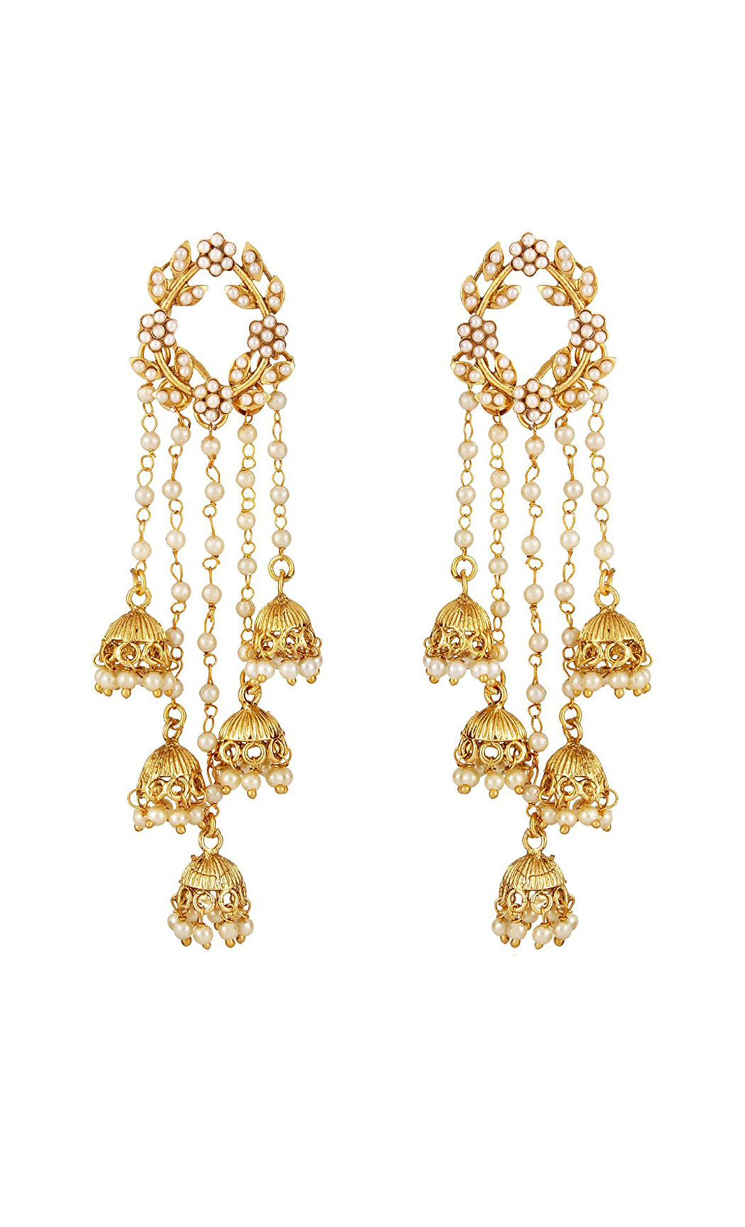 Gold and Pearl Dangler Earrings with Jhumkas | Wedding Earrings | Buy Online