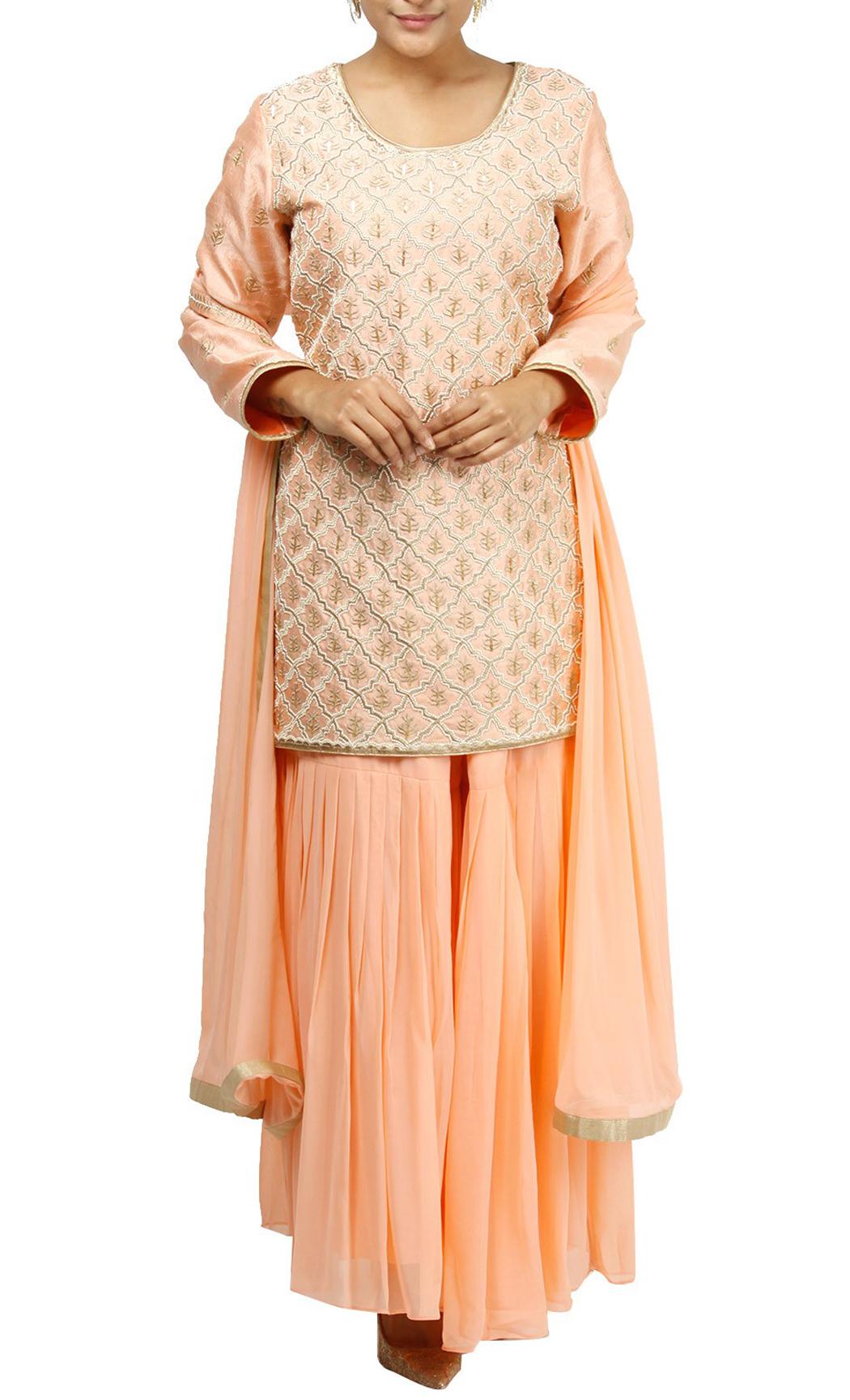 Peach Embroidered Short Kurta and Sharara Set - Buy Online