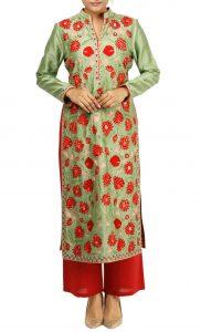 Green Silk Kurta and Red Palazzo Pants - Buy Online