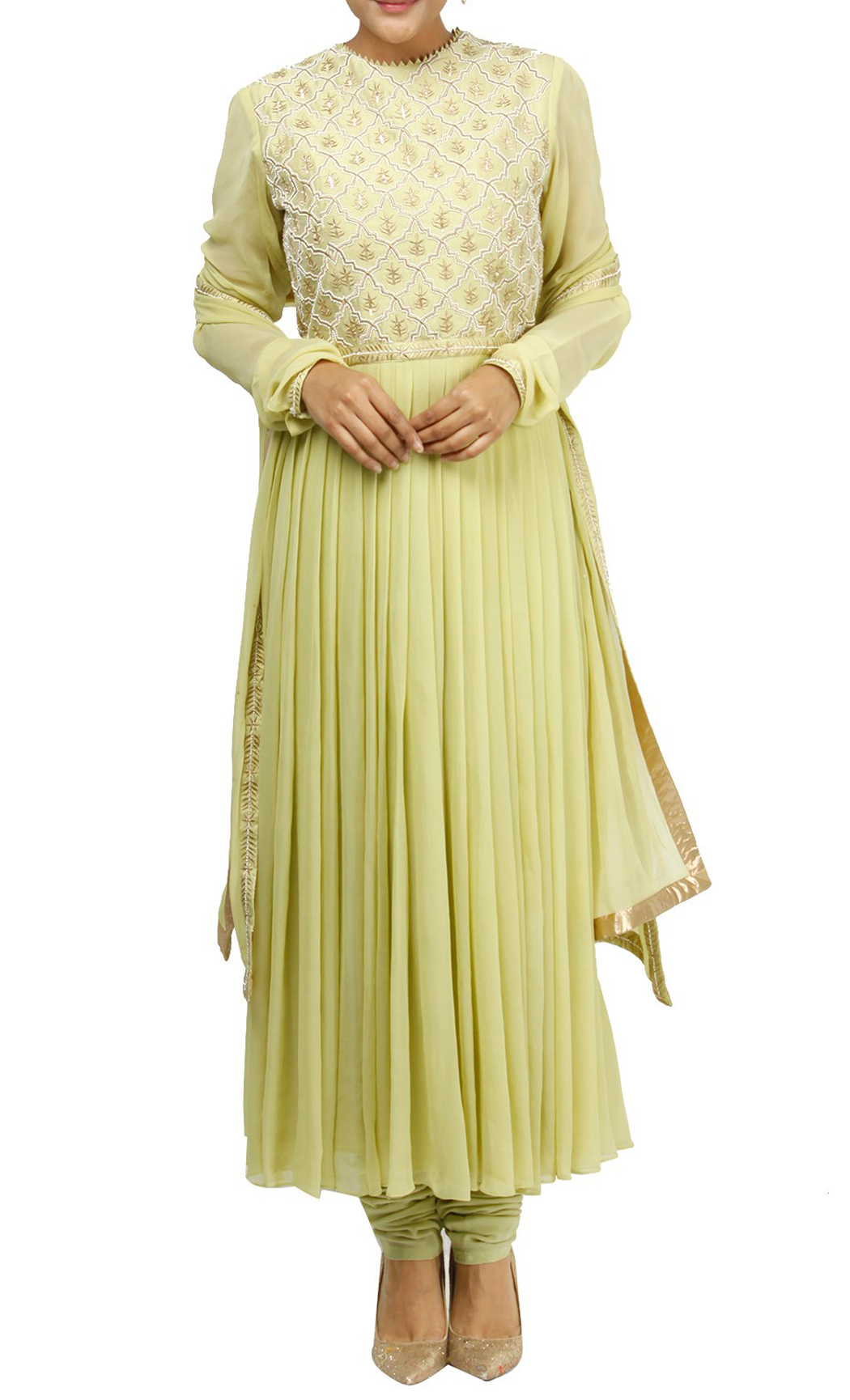 Green Georgette Embroidered Anarkali Kurta Set - Buy Online