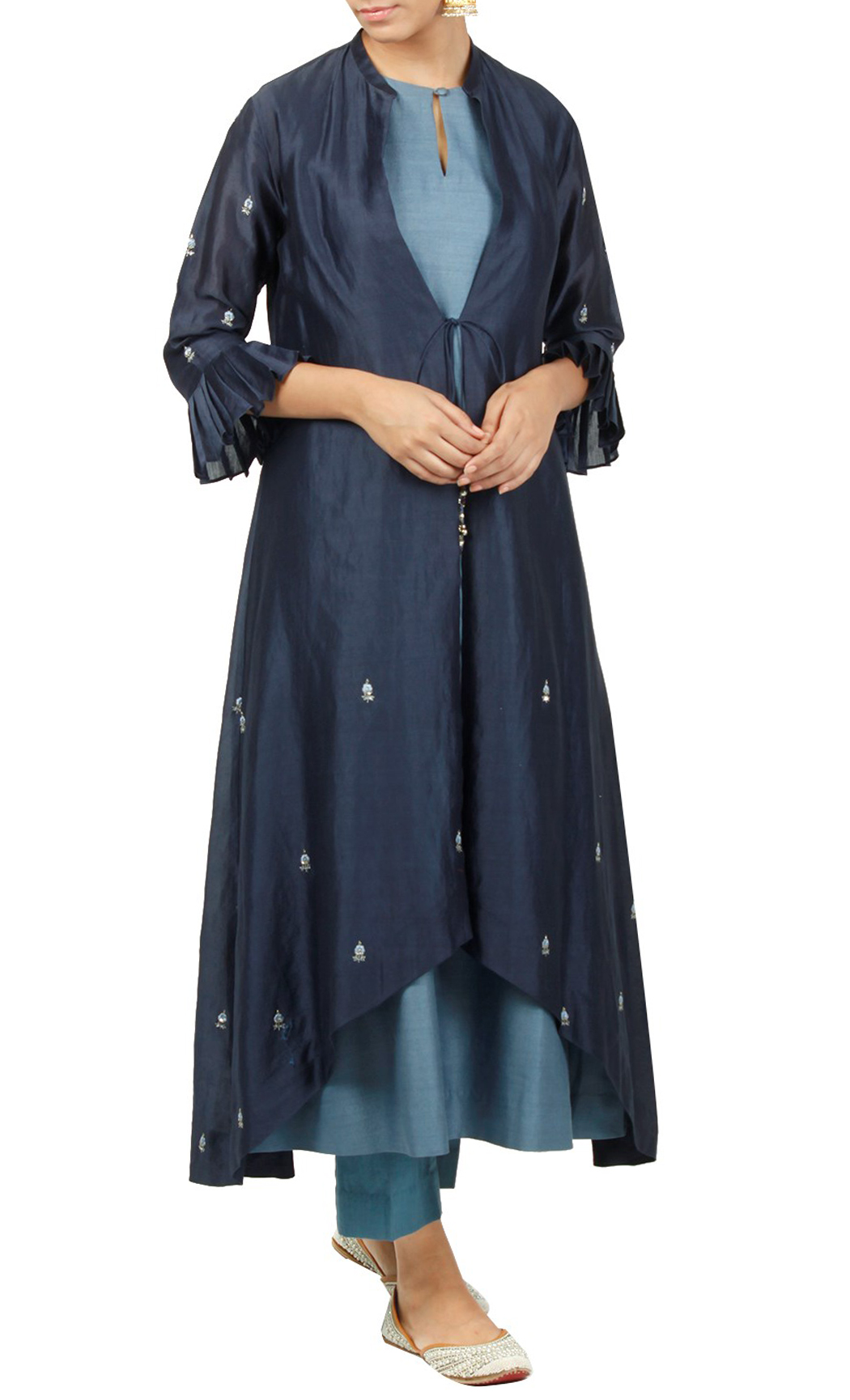Tea Tunic with a Navy Blue Jacket and Straight Pants - Buy Online