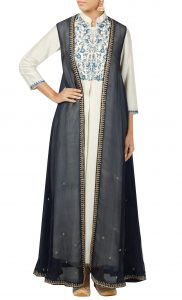 White Silk Kurta and Navy Blue Jacket with Straight Pants - Buy Online