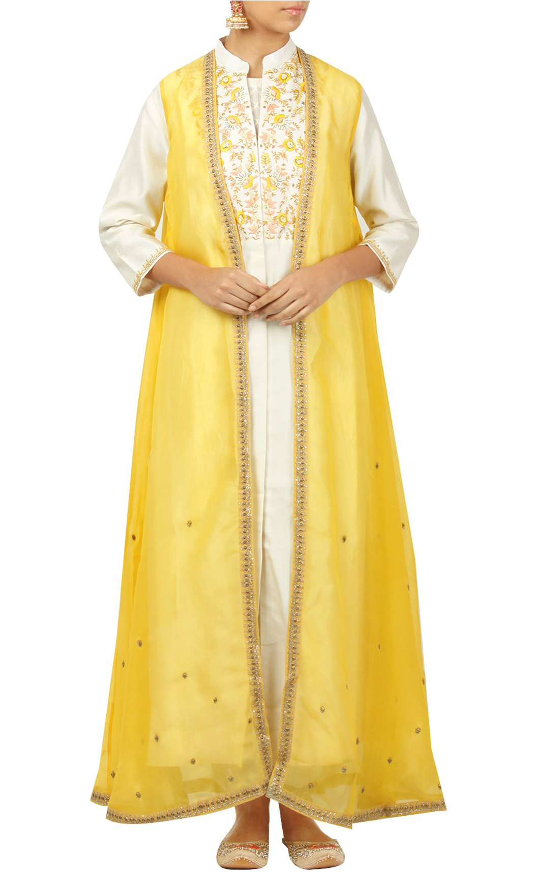 White Silk Kurta and Yellow Jacket with Straight Pants - Buy Online