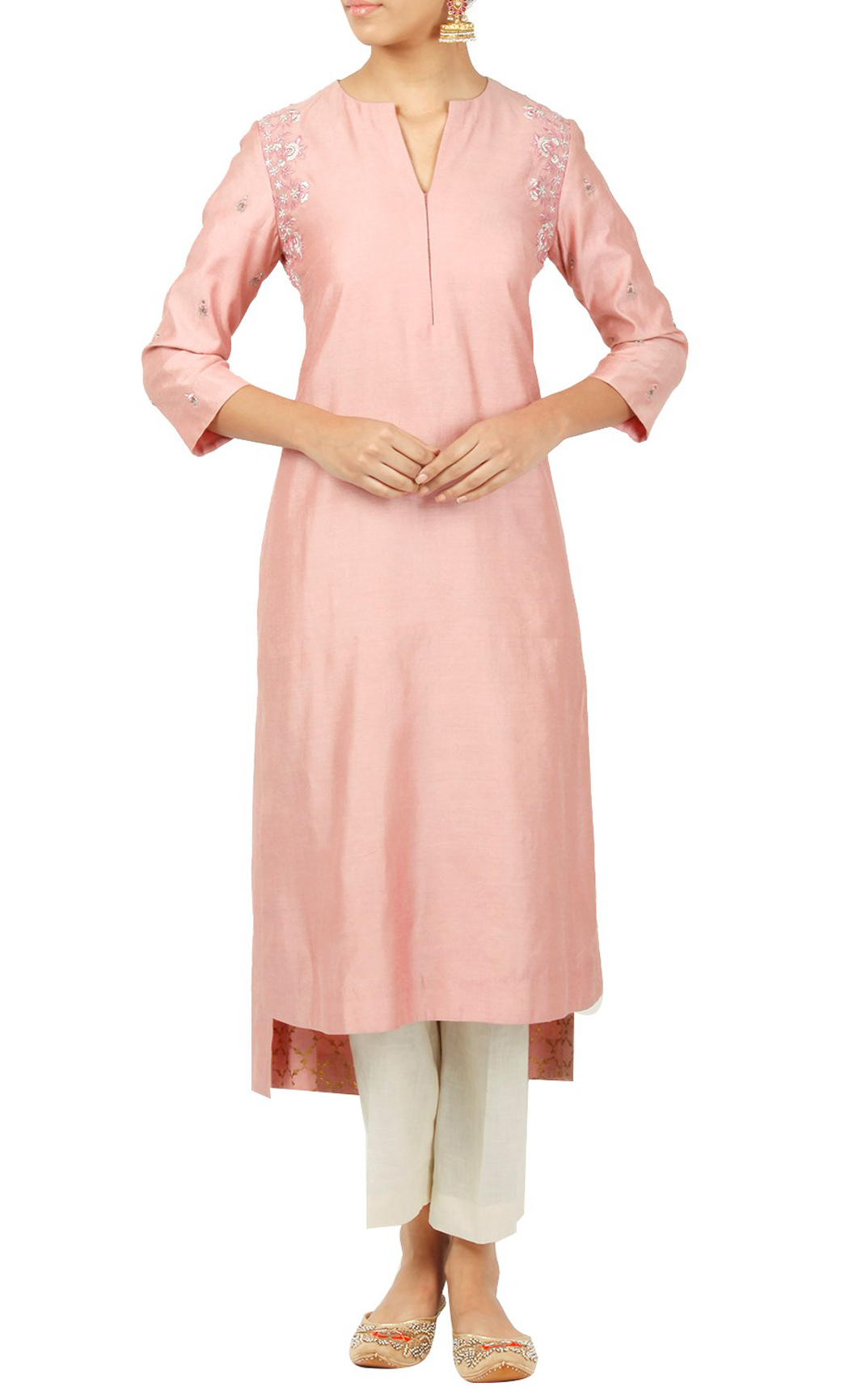 Pink Silk Kurti - Buy Online
