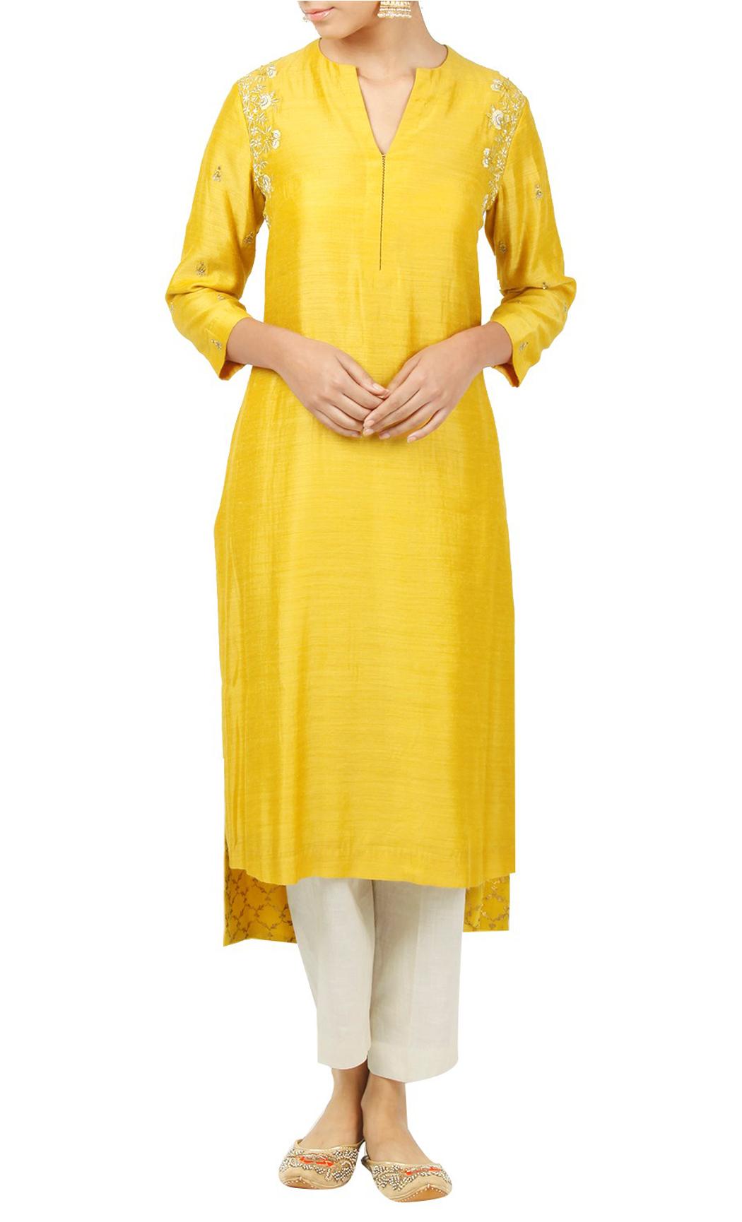 Yellow Silk Kurti - Buy Online