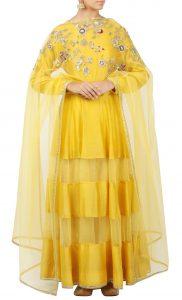 Yellow Silk Anarkali Kurta and Yellow Lehenga Set - Buy Online