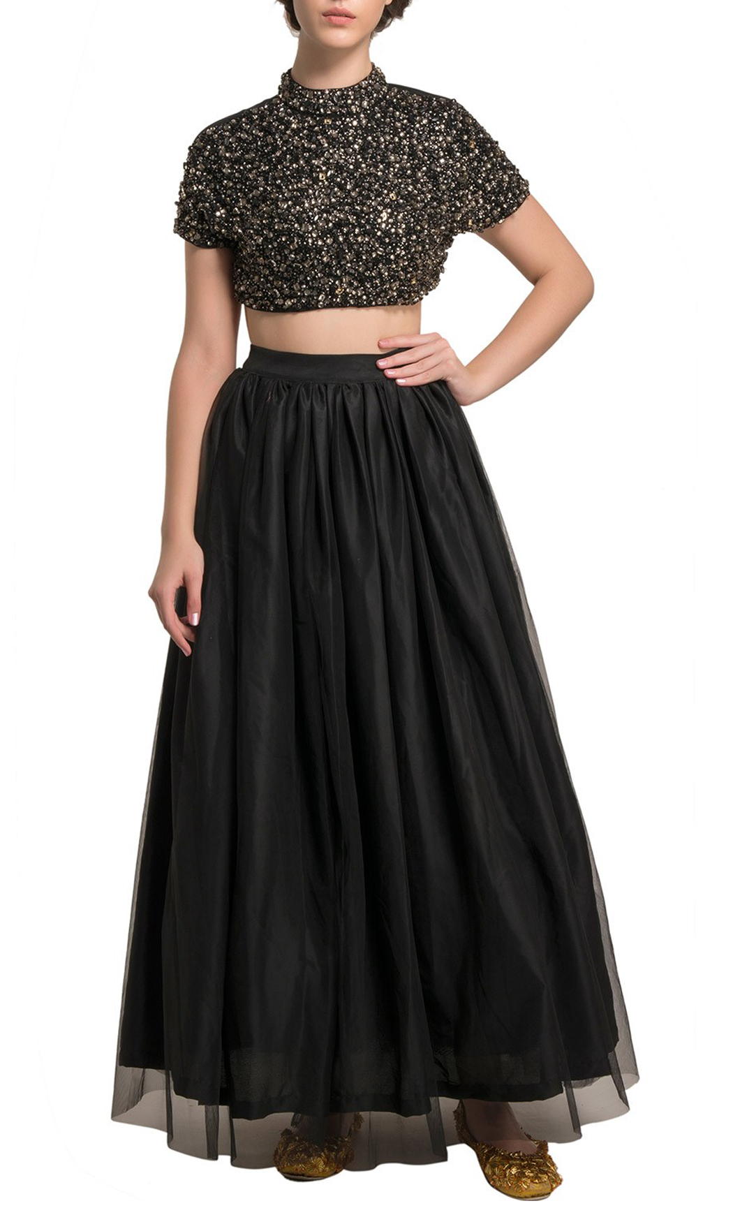 Black Lehenga and Embellished Blouse - Buy Online