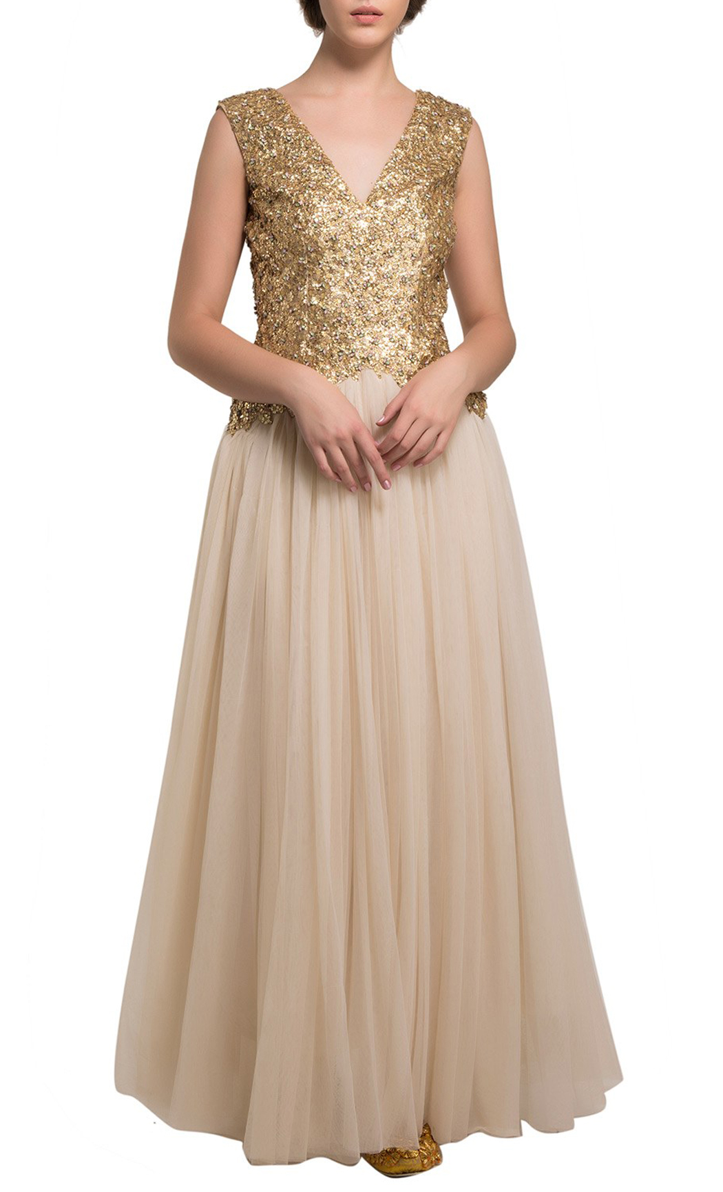 Gold and Off-White Gown Kurta - Buy Online