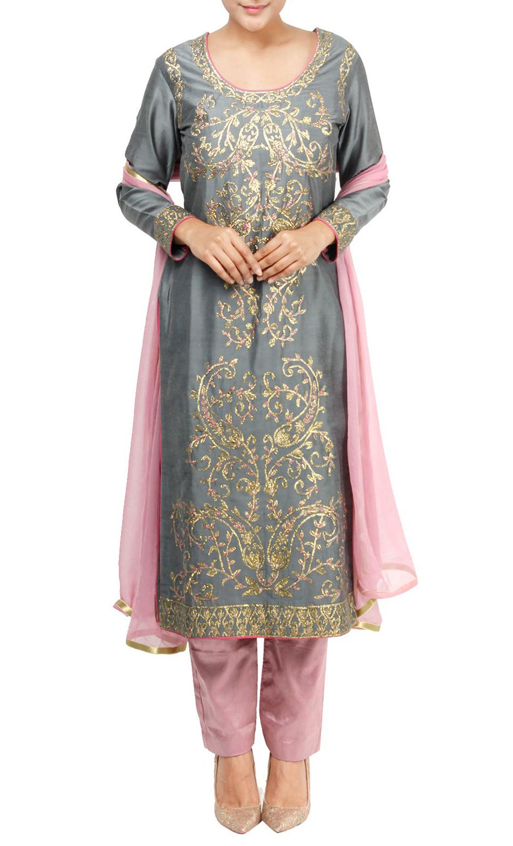 Grey Silk Embroidered Salwar Kameez Set - Buy Online