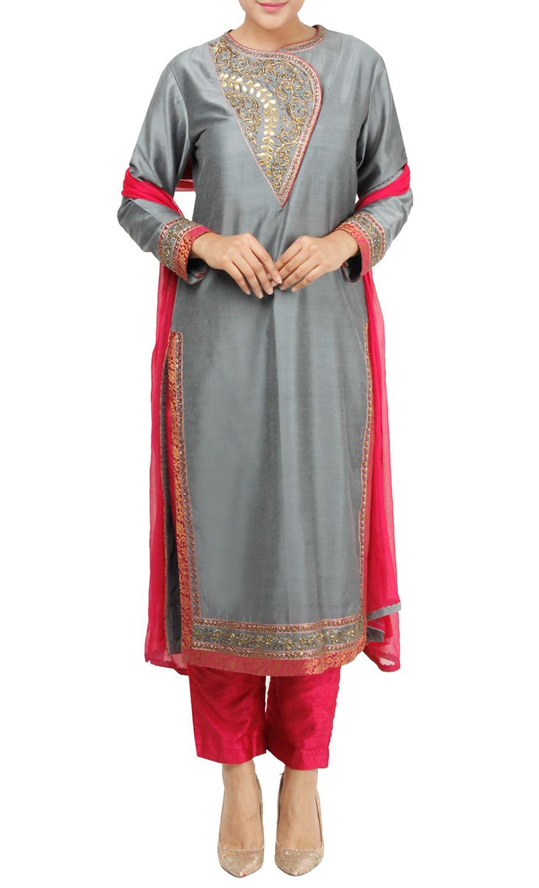 Grey and Red Silk Embroidered Salwar Kameez Set - Buy Online