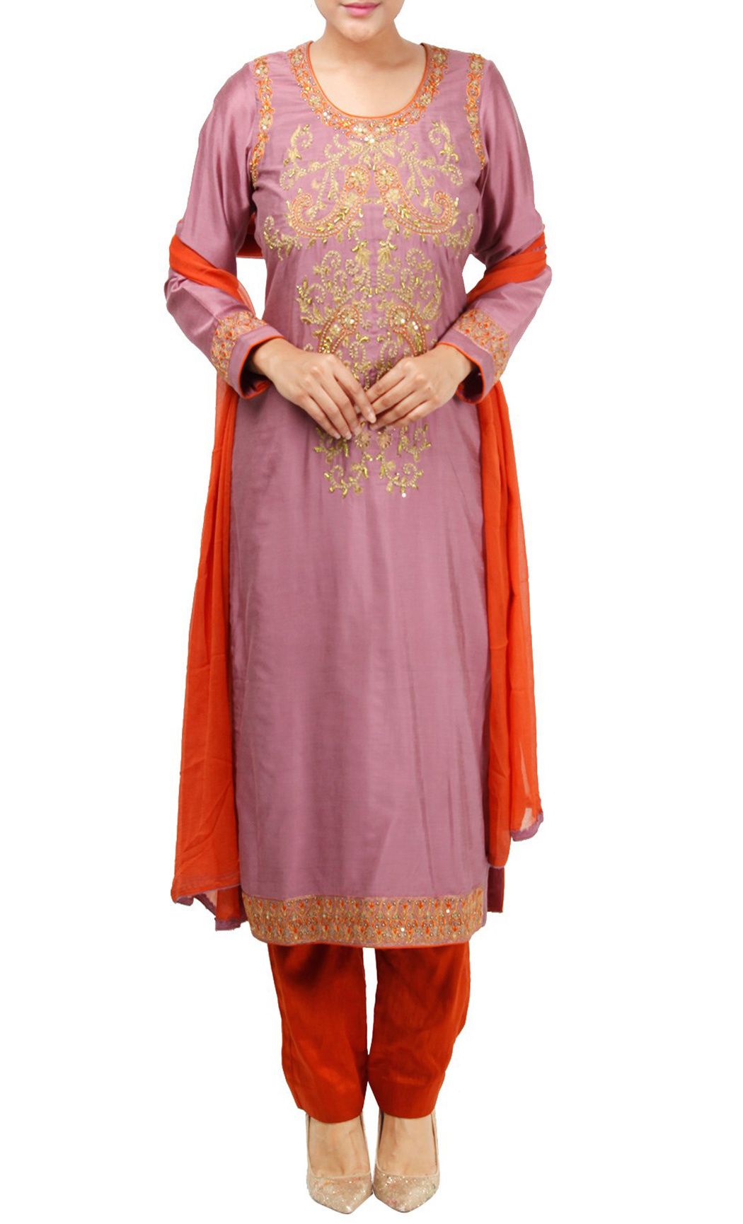 Pink Silk Embroidered Salwar Kameez Set - Buy Online